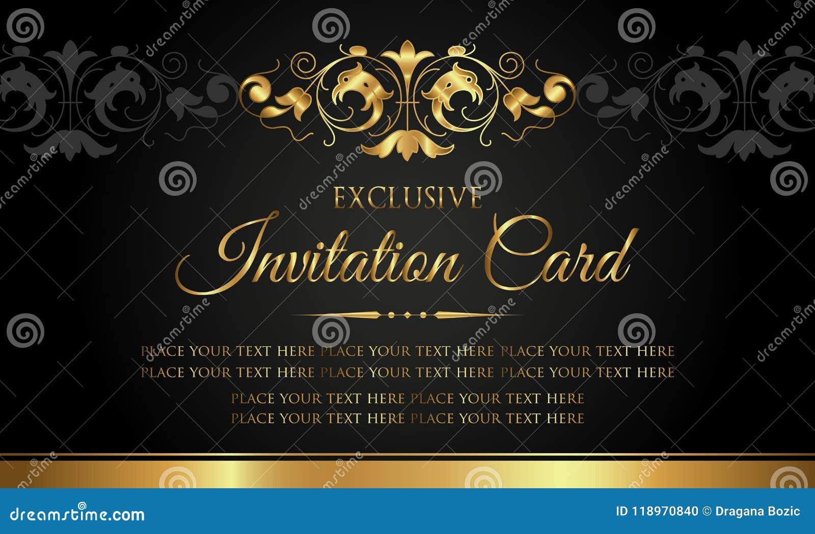 Zaproszenie karta - luksusowy czarny i złocisty rocznika styl