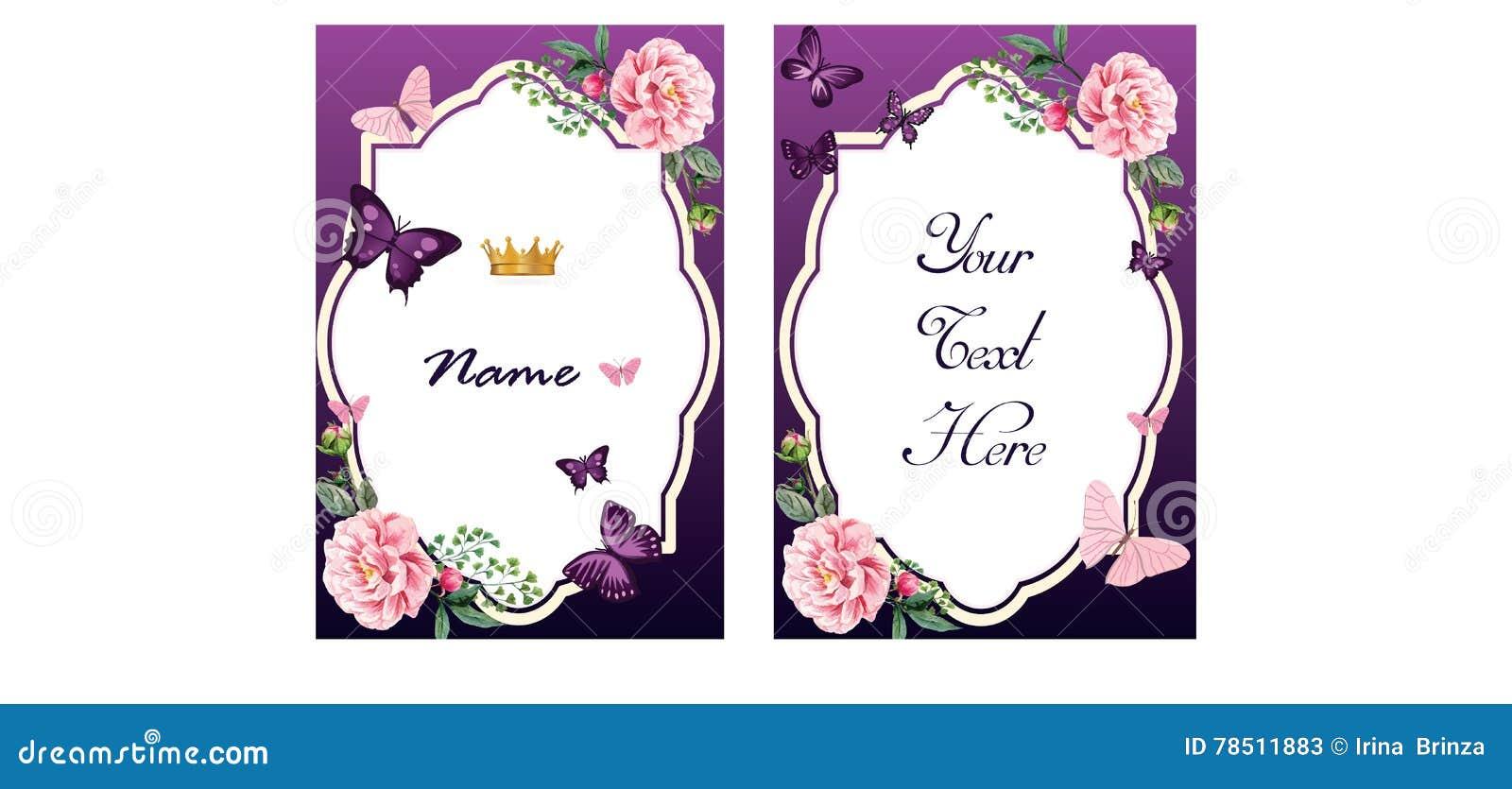Zaproszenie lub kartka z pozdrowieniami w purpurowych brzmieniach