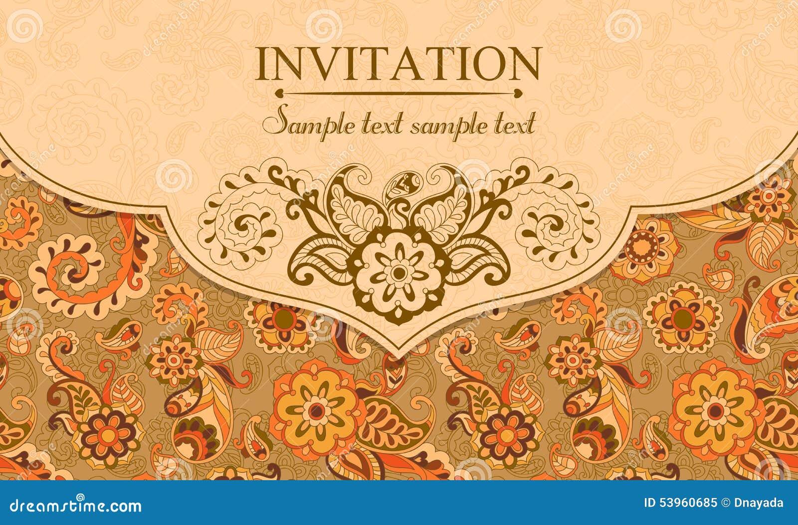 Zaproszenie w wschodnim tureckim stylu, pomarańcze
