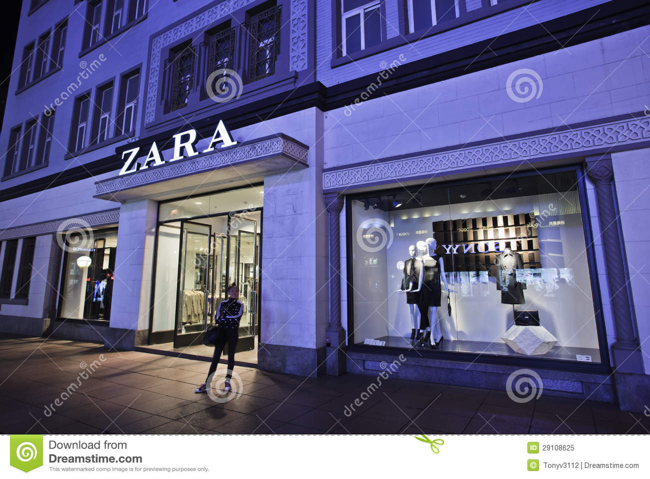 zara fashion store at night dalian china editorial image image 29108625. Black Bedroom Furniture Sets. Home Design Ideas