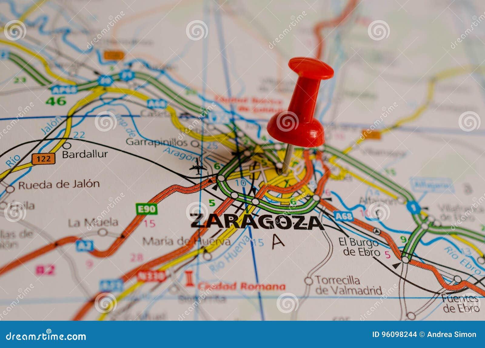 Zaragoza Map Of Spain.Zaragoza On Map Stock Photo Image Of Visit Madrid Tourism 96098244