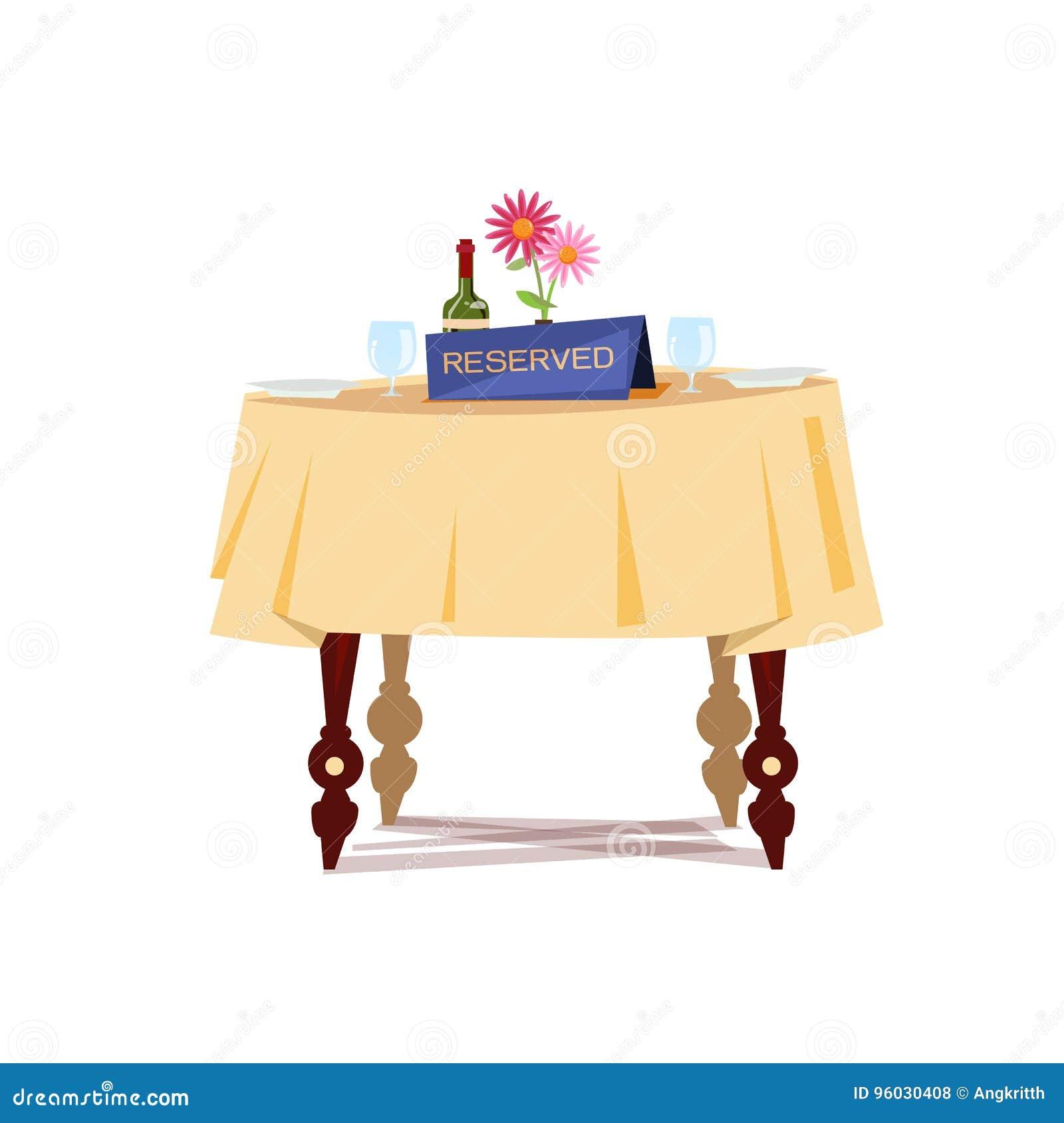 Zarezewowany znak na stole w restauraci Zarezewowany Stołowy pojęcie