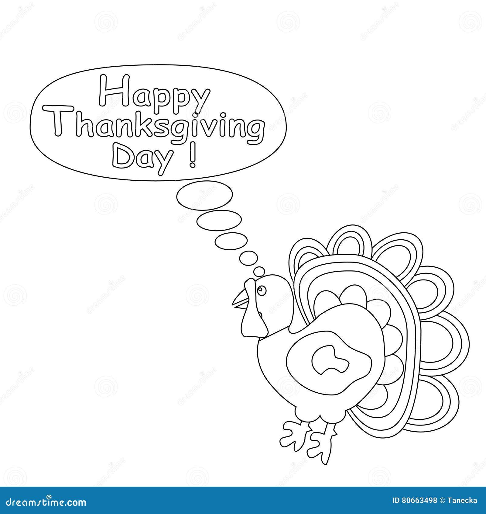 Zarysowany kreskówka indyk Szczęśliwy dziękczynienie dnia pojęcie Dzieciaki barwi stronę