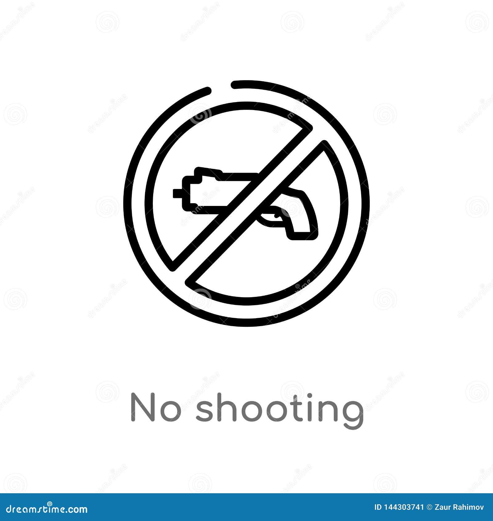 Zarysowywa żadny mknącą wektorową ikonę odosobniona czarna prosta kreskowego elementu ilustracja od broni pojęcia editable wektor