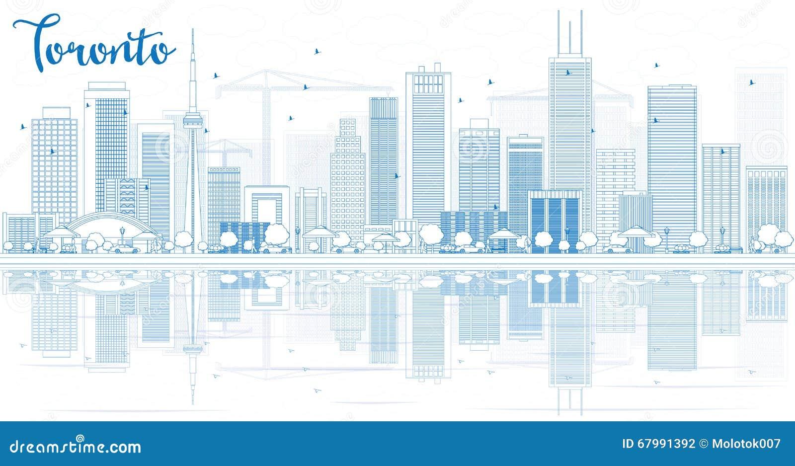 Zarysowywa Toronto linię horyzontu z błękitnymi odbiciami i budynkami