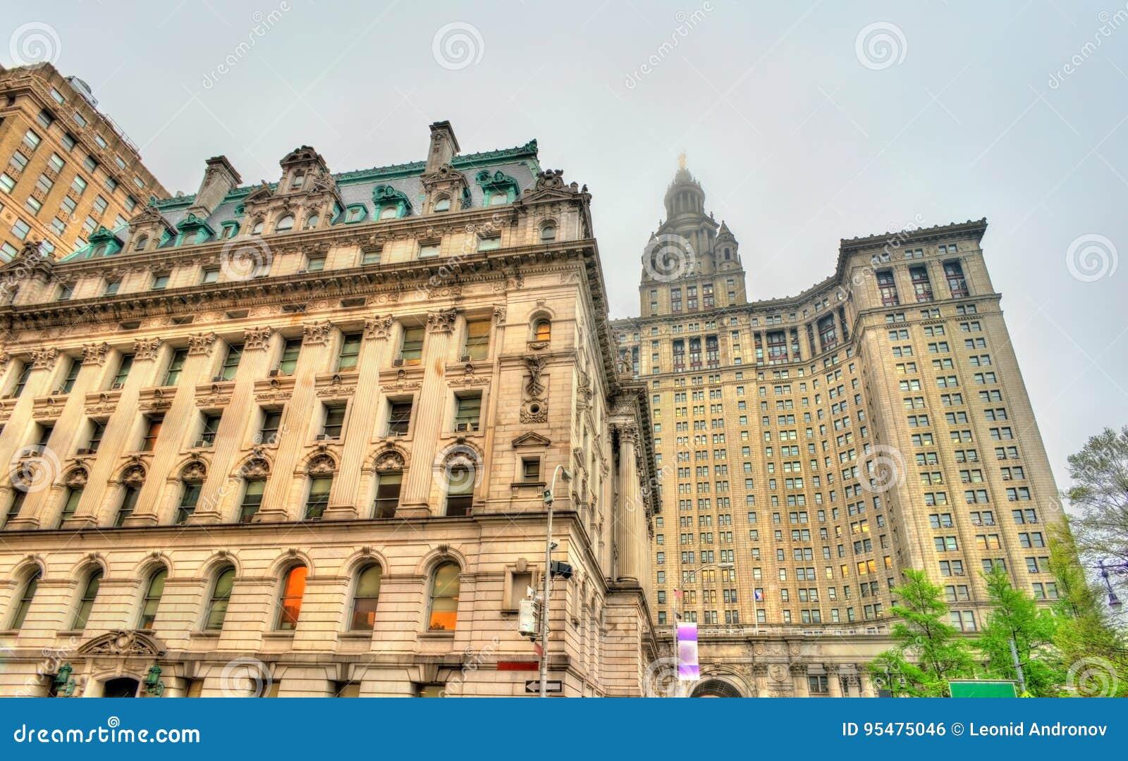 Zastępczy ` s gmach sądu i Manhattan Miejski budynek w Miasto Nowy Jork, usa