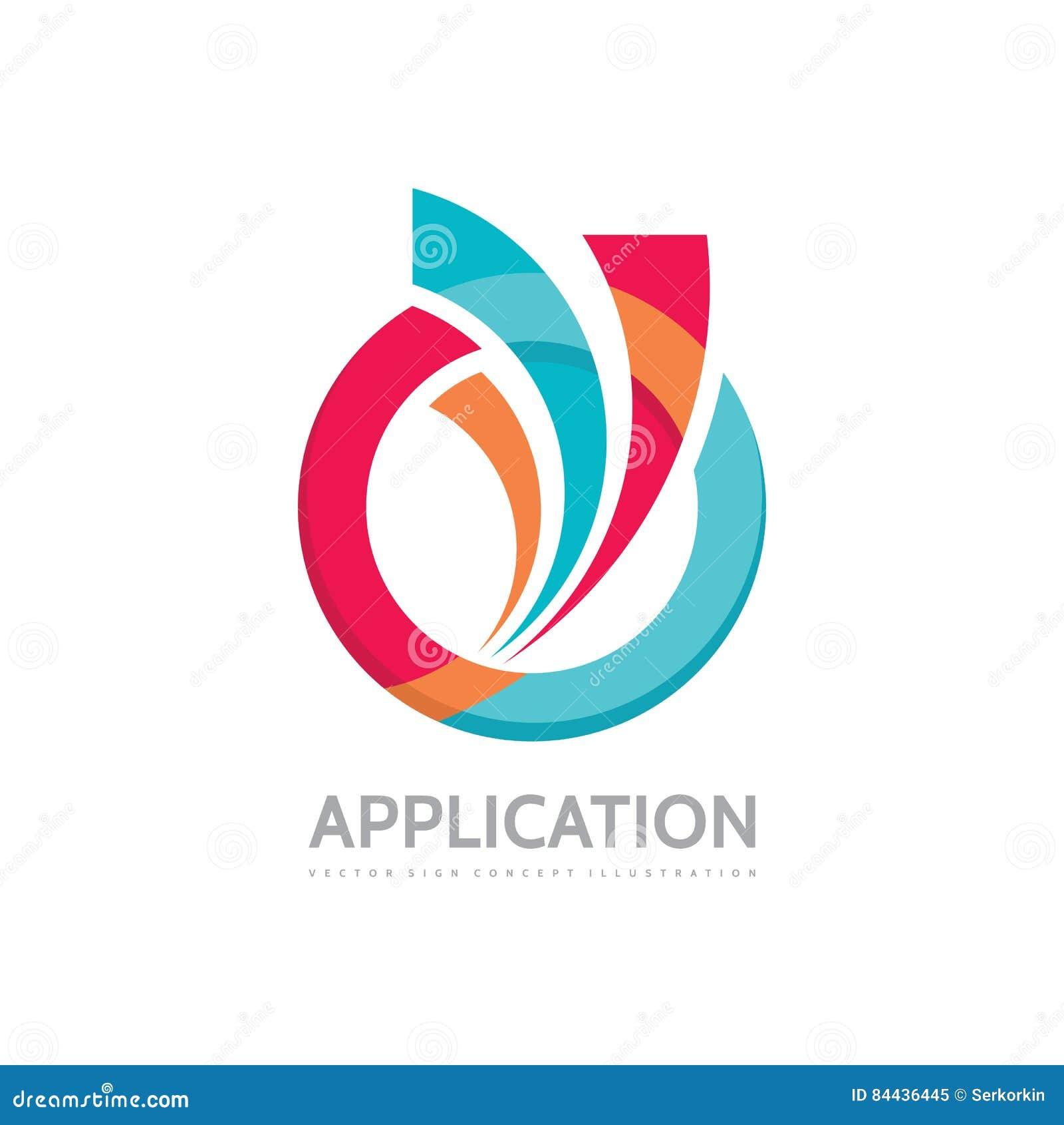 Zastosowanie - wektorowa biznesowa loga pojęcia ilustracja Barwiony pierścionek z abstrakcjonistycznymi kształtami Pozytywny geom
