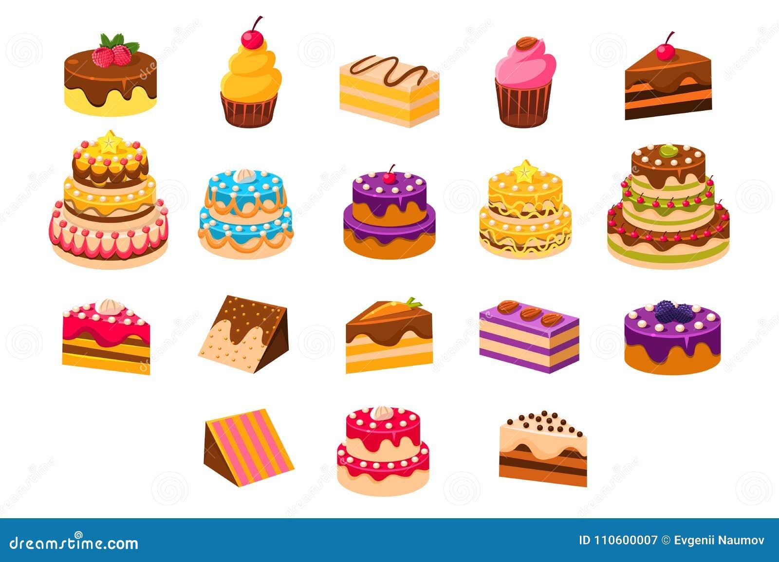 Zasycha sett, słodkich dessetrts, piec torty i babeczki robić, śmietanki, ciastka, czekolady i jagod wektoru ilustracje,