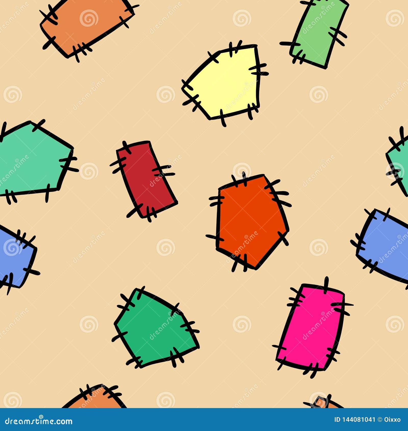 Zaszytych doodles łat kolorowy bezszwowy wzór Wektorowy druk