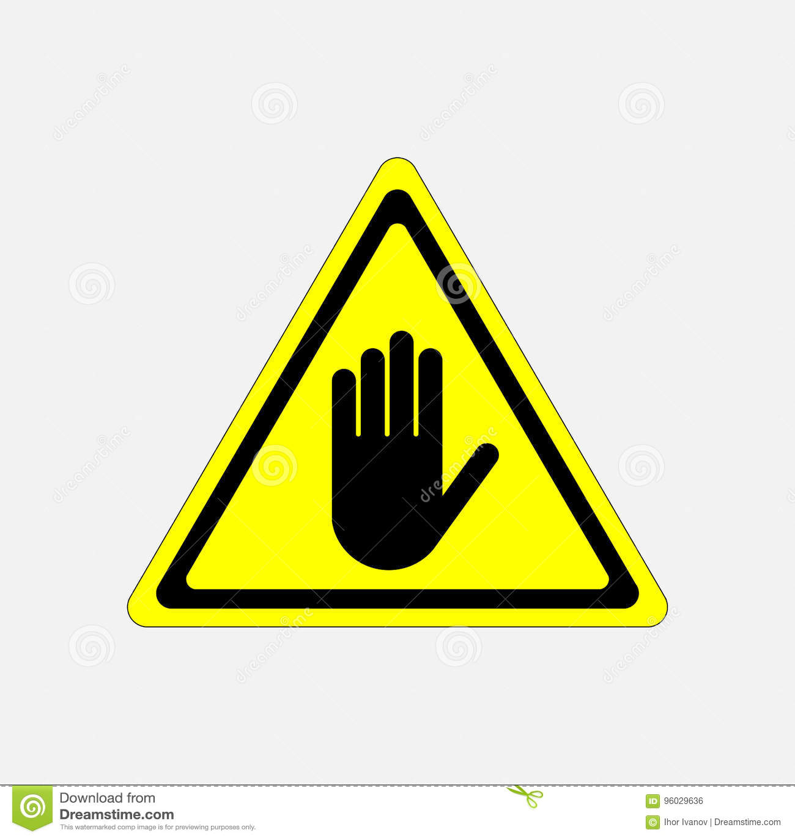 ZATRZYMUJE, żadny hasłowy ręka znak, uwaga
