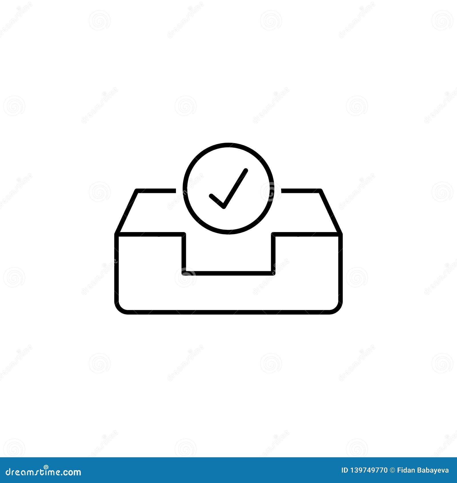 Zatwierdza pudełkowatą emaila inbox konturu ikonę Znaki i symbole mogą używać dla sieci, logo, mobilny app, UI, UX