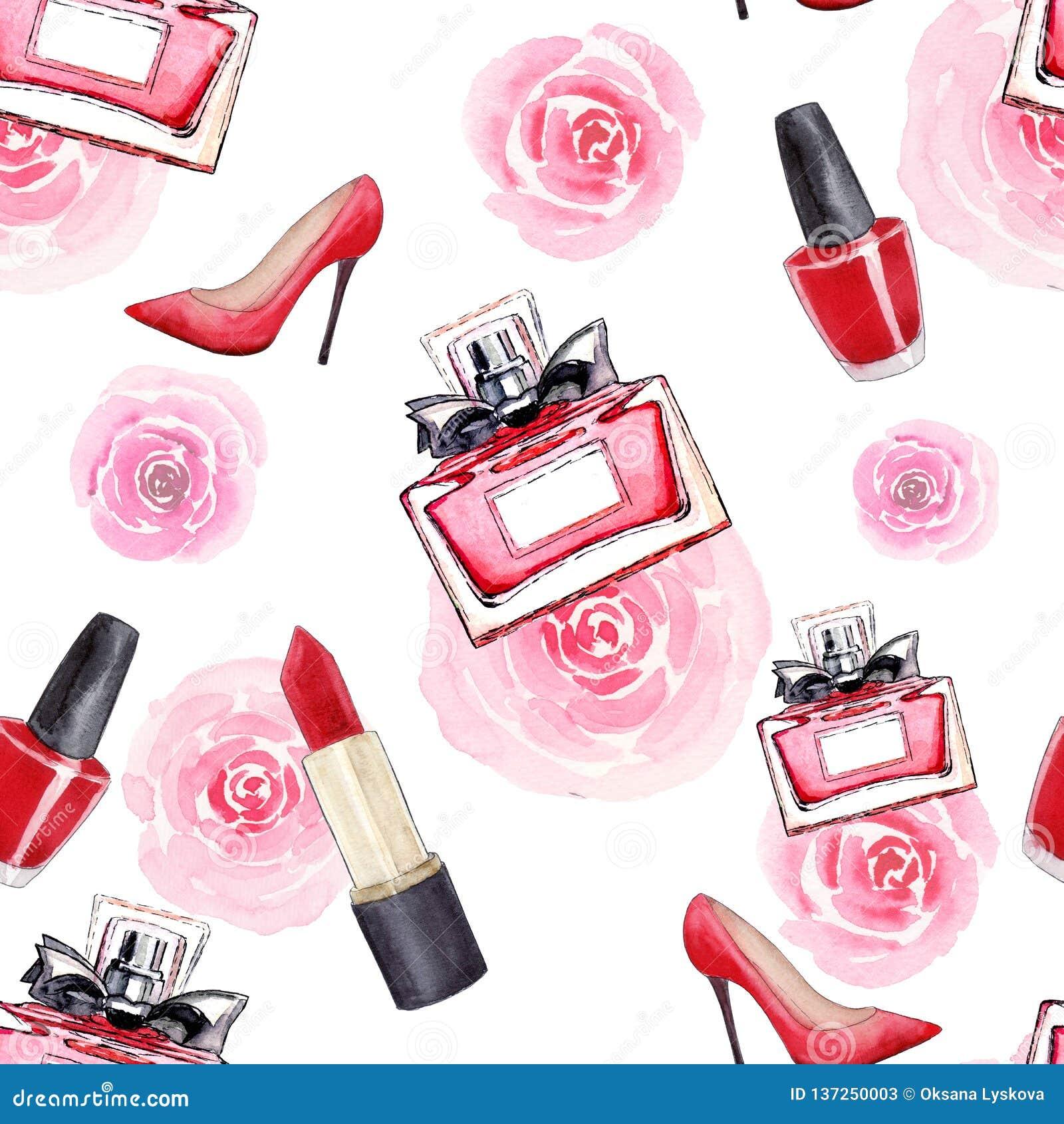 Zauberzusätze Art und Weise Nahtloses Aquarellmuster mit den Schuhen der Frauen, Lippenstift, Parfüm, Blumen und Nagellack Getren