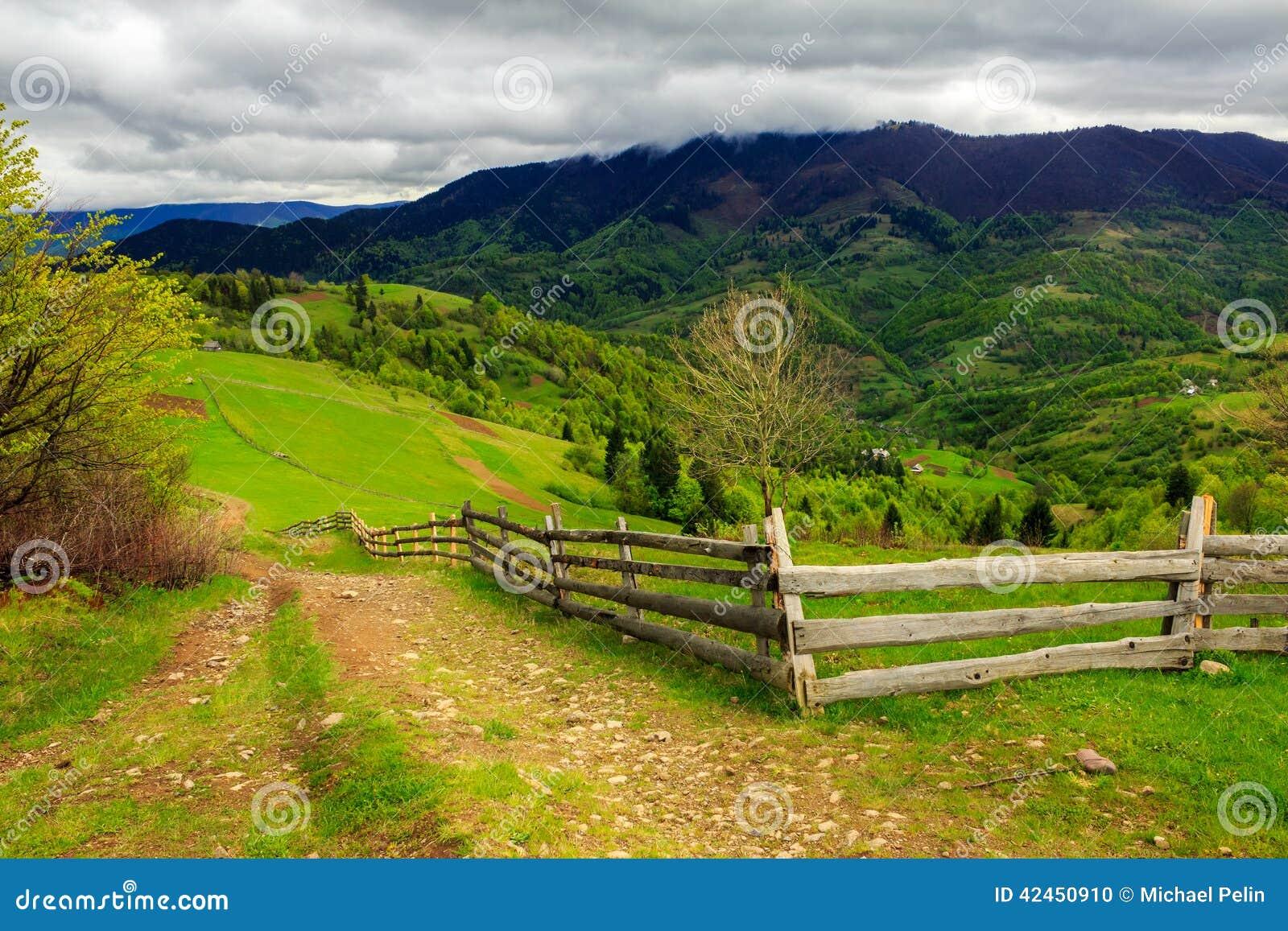 Zaun auf Abhangwiese im Berg