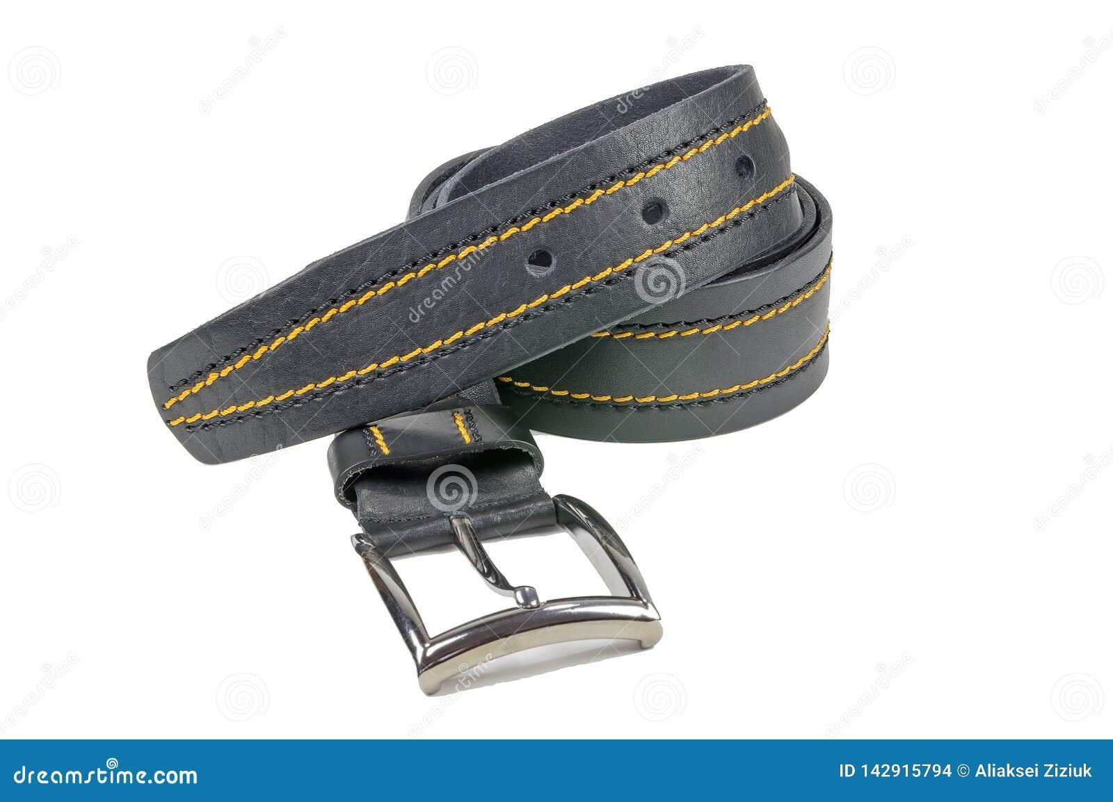 Zawalony trouser pasek, czarny zaszyty z żółtą nicią