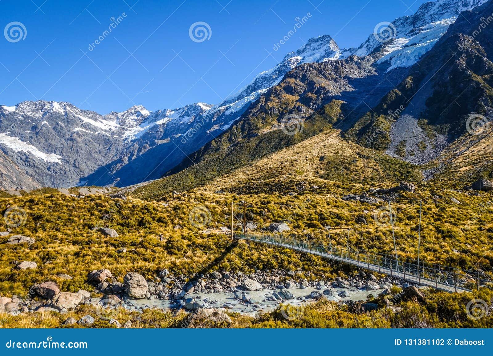 Zawieszenie most w dolinie, góra Cook, Nowa Zelandia