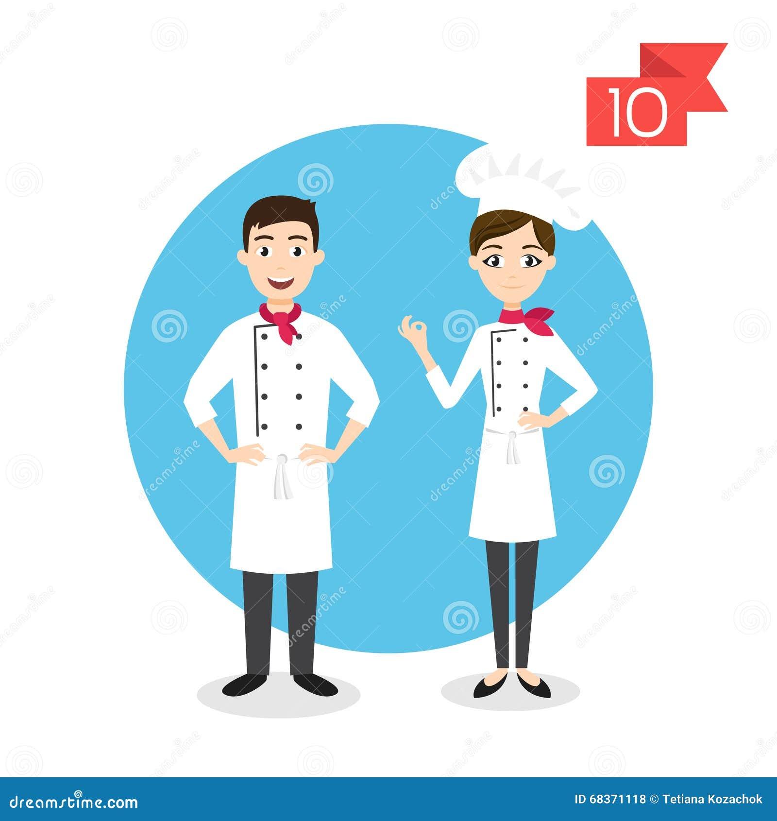 Zawodów charaktery: mężczyzna i kobieta kucharz