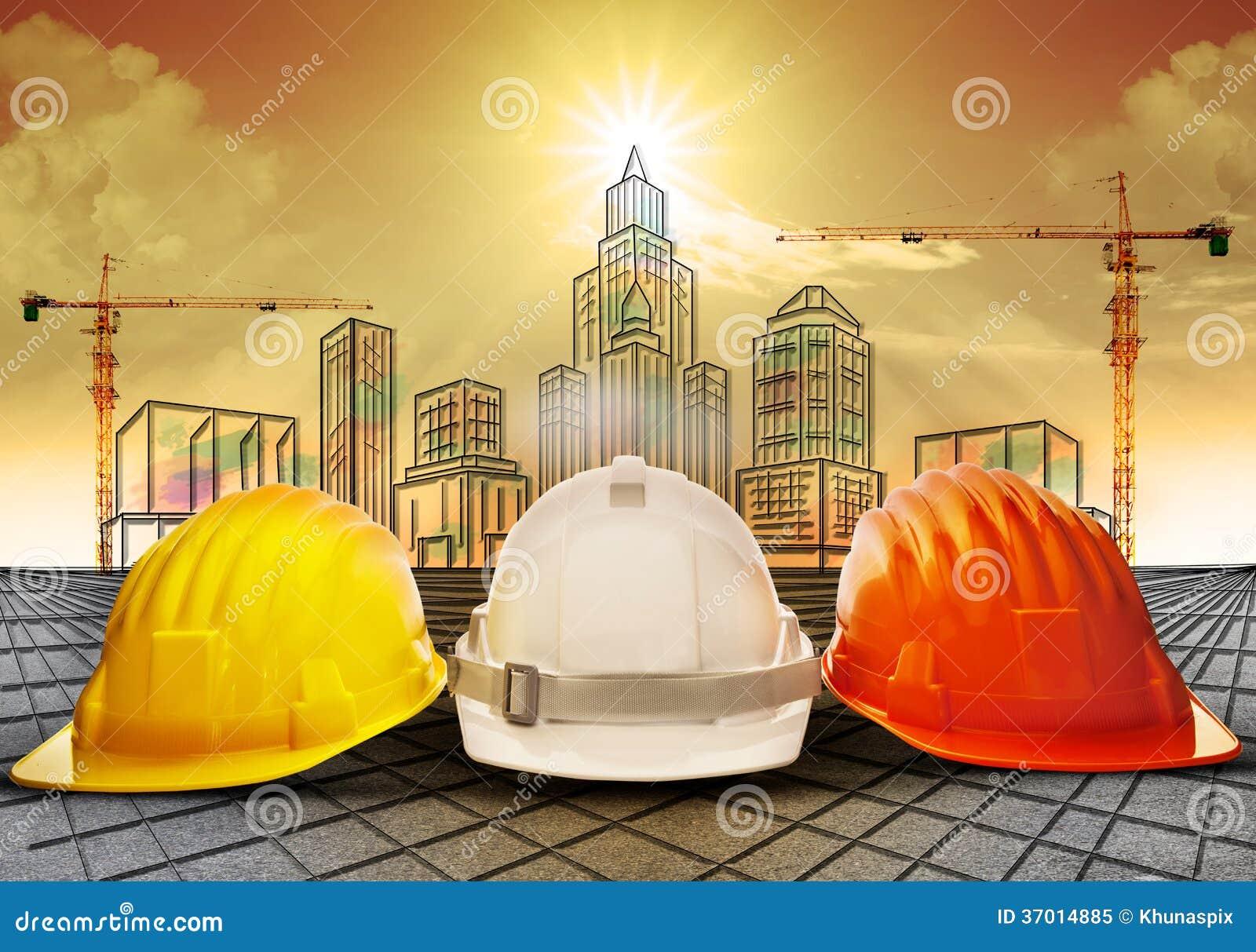 Zbawczy hełm i budynek budowa kreśli na papierkowej roboty use dla przemysłu budowlanego biznesu i architektury engineeri