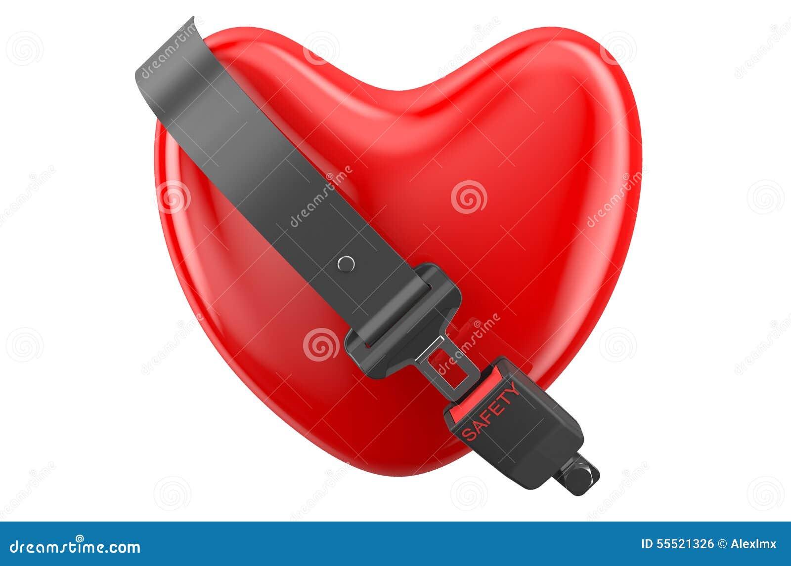Zbawczy kierowy pojęcie, serce z zbawczym paskiem