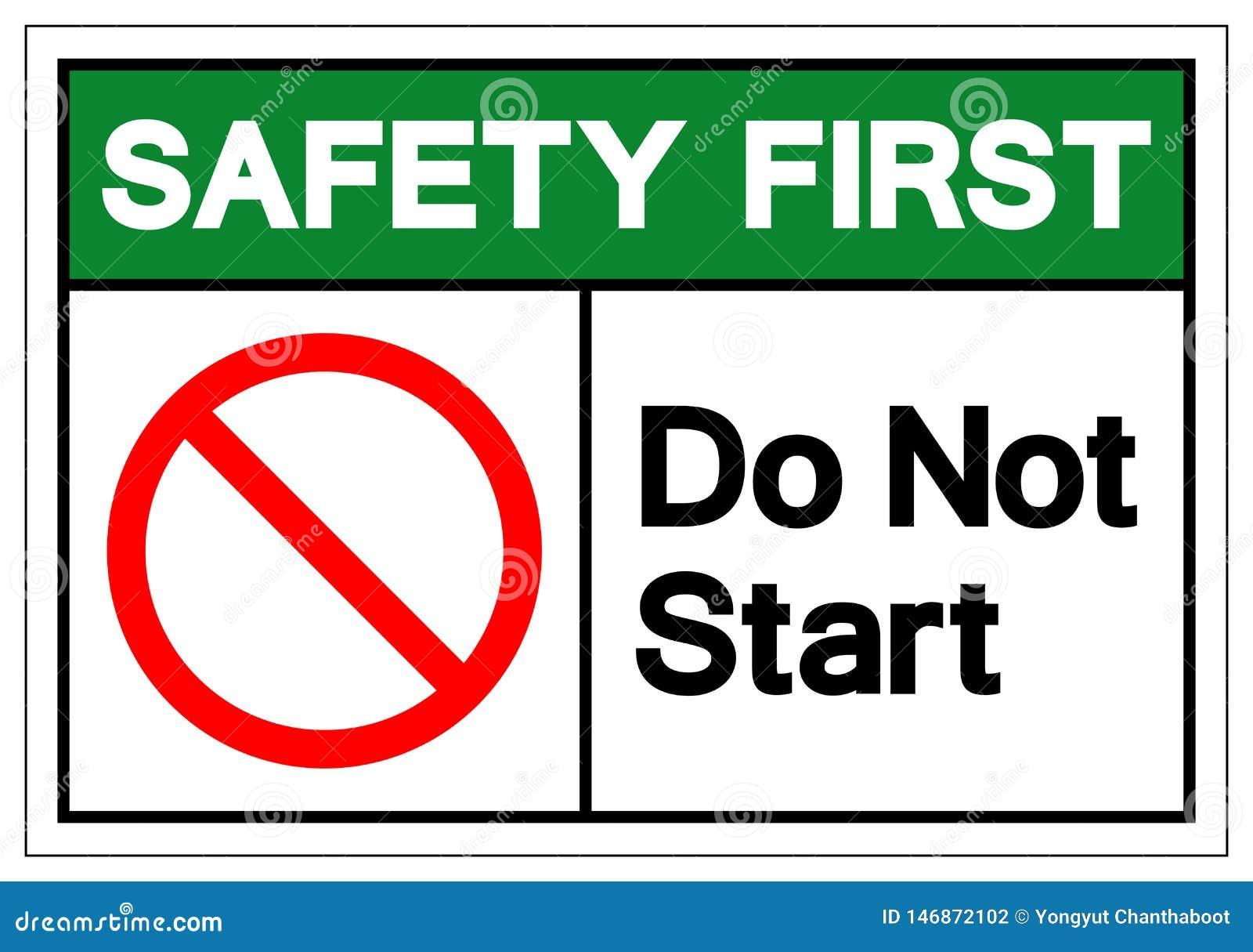Zbawczy Najpierw no początku symbolu znak, Wektorowa ilustracja, Odizolowywać Na Białej tło etykietce EPS10