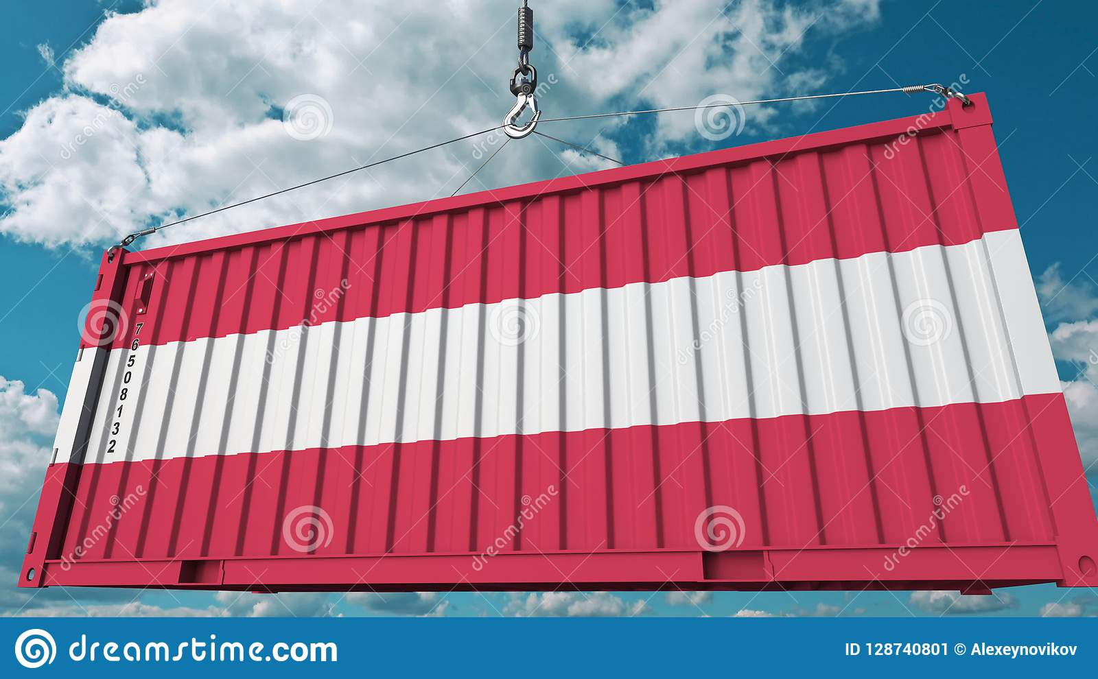 Zbiornik z flaga Austria Austriaka eksport lub import odnosić sie konceptualnego 3D rendering