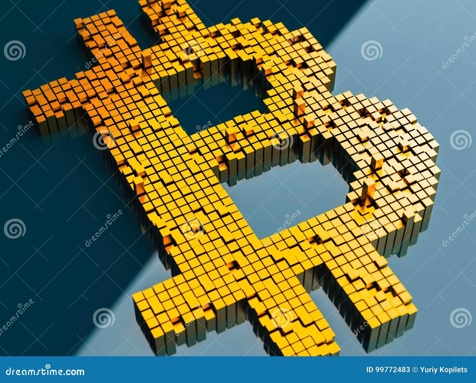 Zbliżenia pojęcie mali metali sześciany które budują up to formę bitcoin symbol na błękitnym tle w przypadkowym układzie