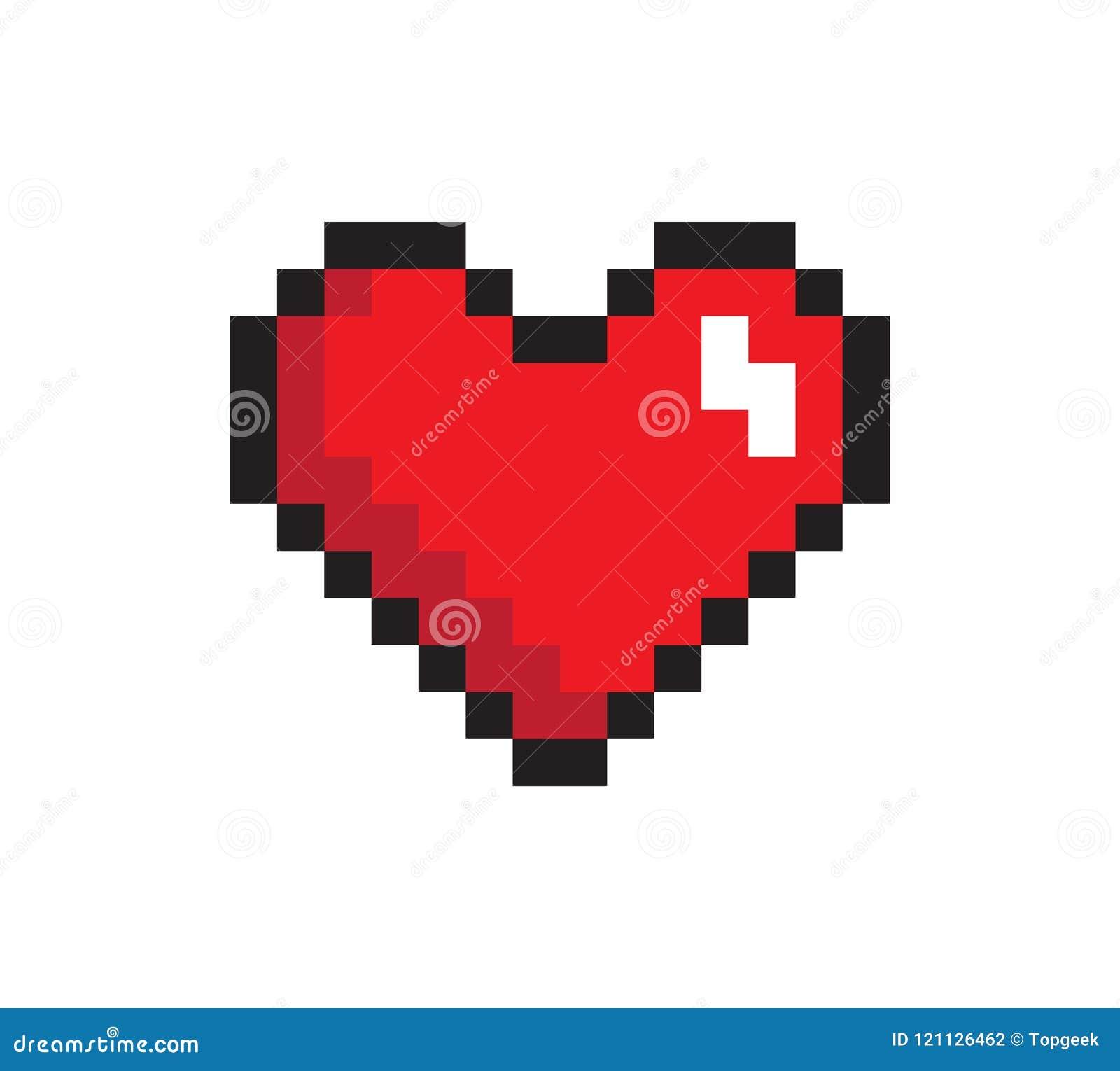 Zbliżenia serce, piksel ikona, Wektorowa ilustracja