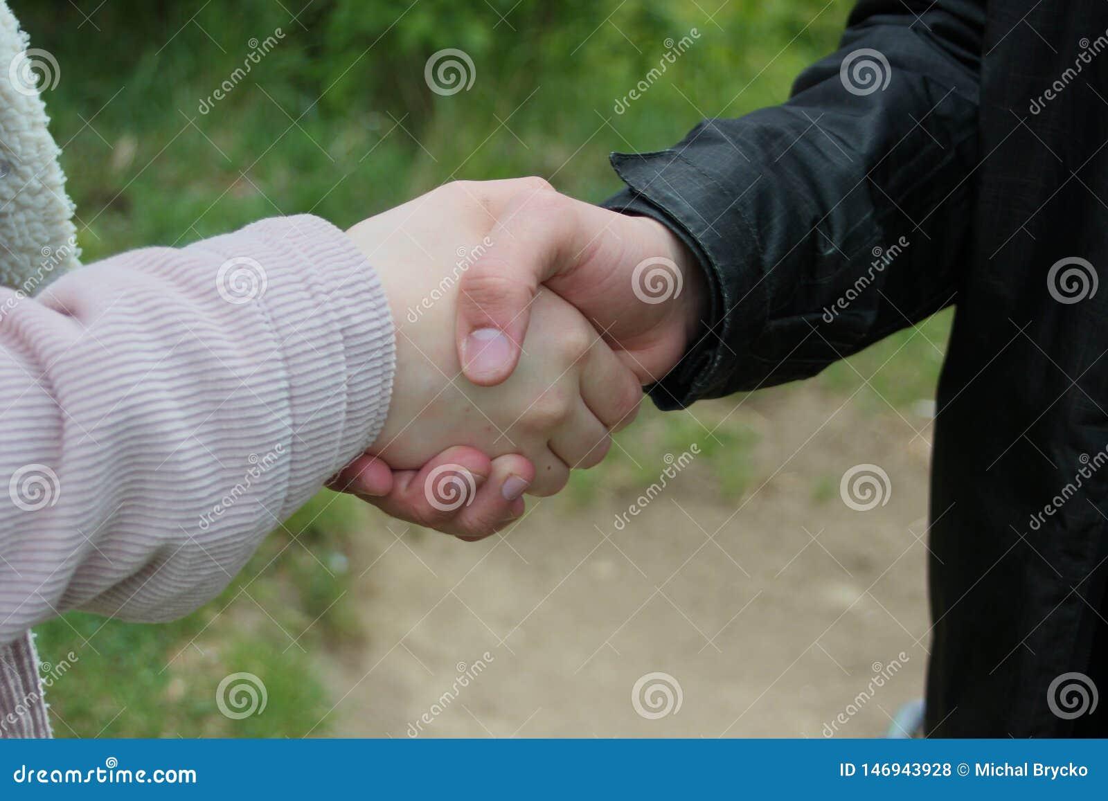 Zbliżenie biznesowy uścisk dłoni w lesie,
