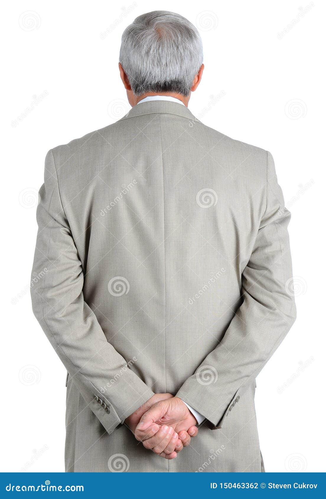 Zbliżenie dojrzały, biznesmen widzieć od jego ręk spinać za jego z powrotem za z
