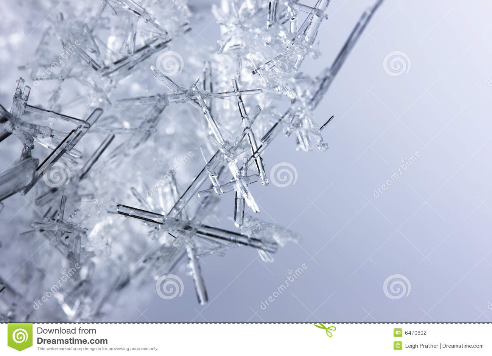 Zbliżenie kryształów lodu