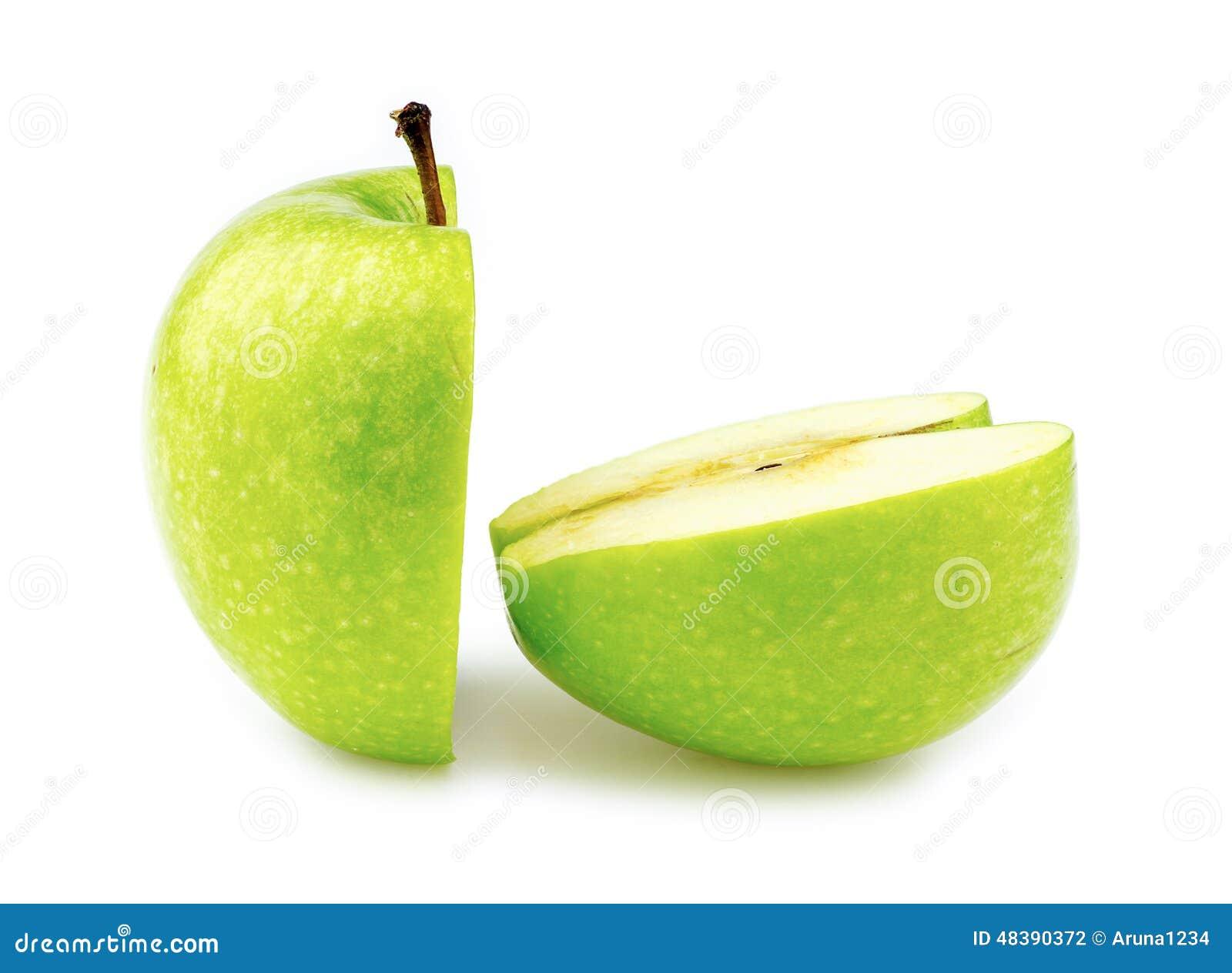 Zbliżenie makro- dwa połówki doskonale ciący zielony jabłko