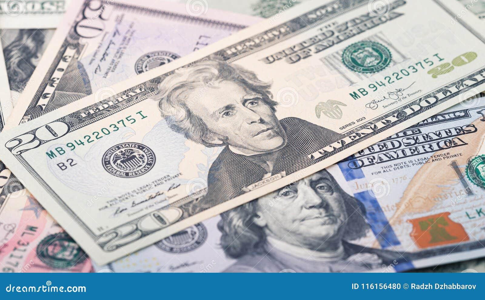 Zbliżenie pieniądze dwadzieścia Amerykański dolarowy rachunek Andrew Jackson portret, USA 20 dolarów banknotu czerep makro-