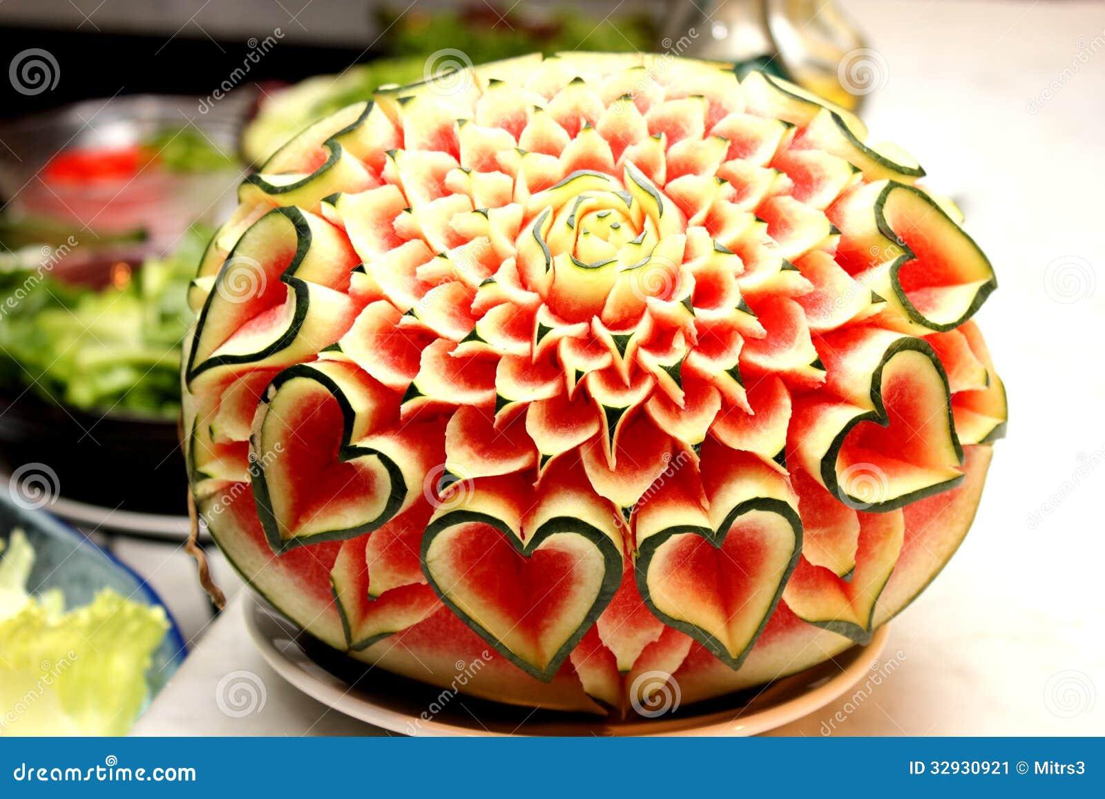 Zbliżenie Sztuka Arbuza Cyzelowania Owoc Obraz Stock Obraz