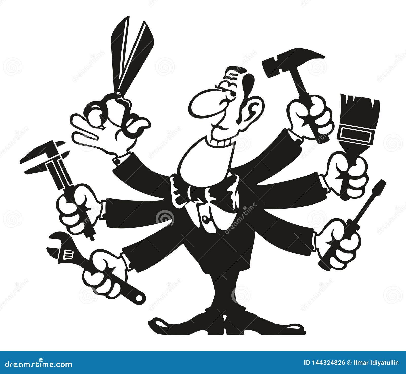 Zbrojący agent specjalny remontowa usługa Śmieszna postać z kreskówki w roli złota rączka