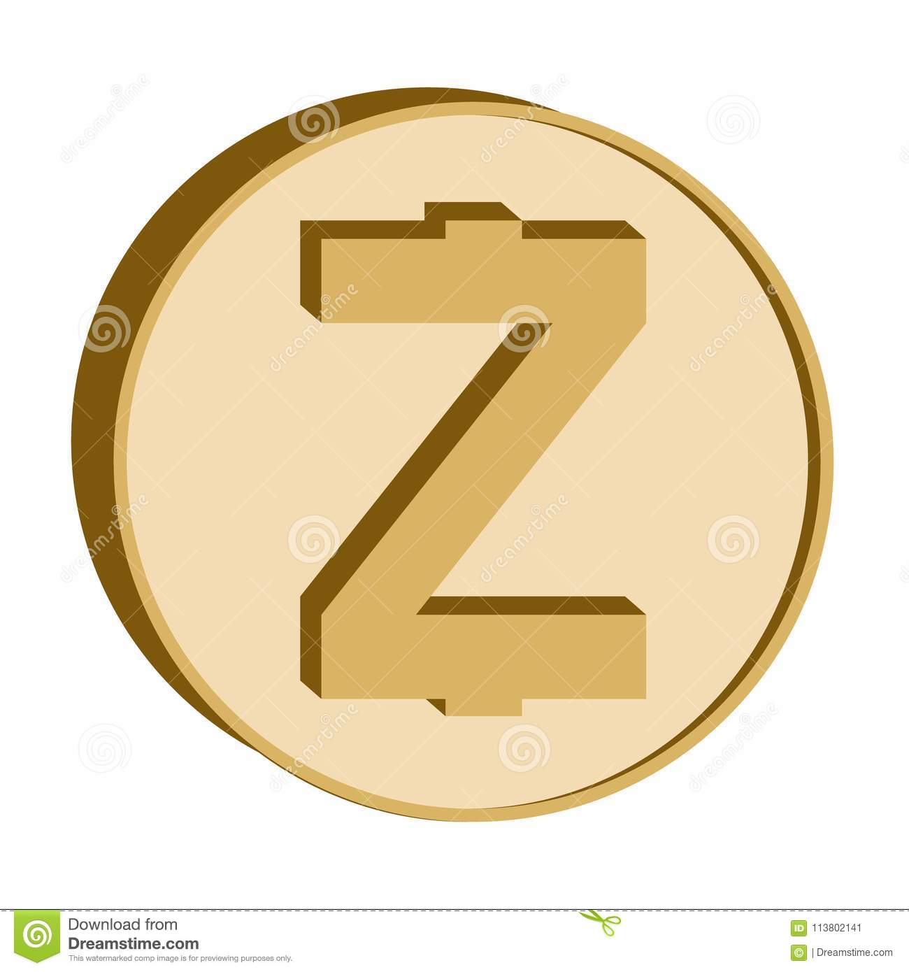 Zcash Crypto Currency Symbolgolden Coin Icon