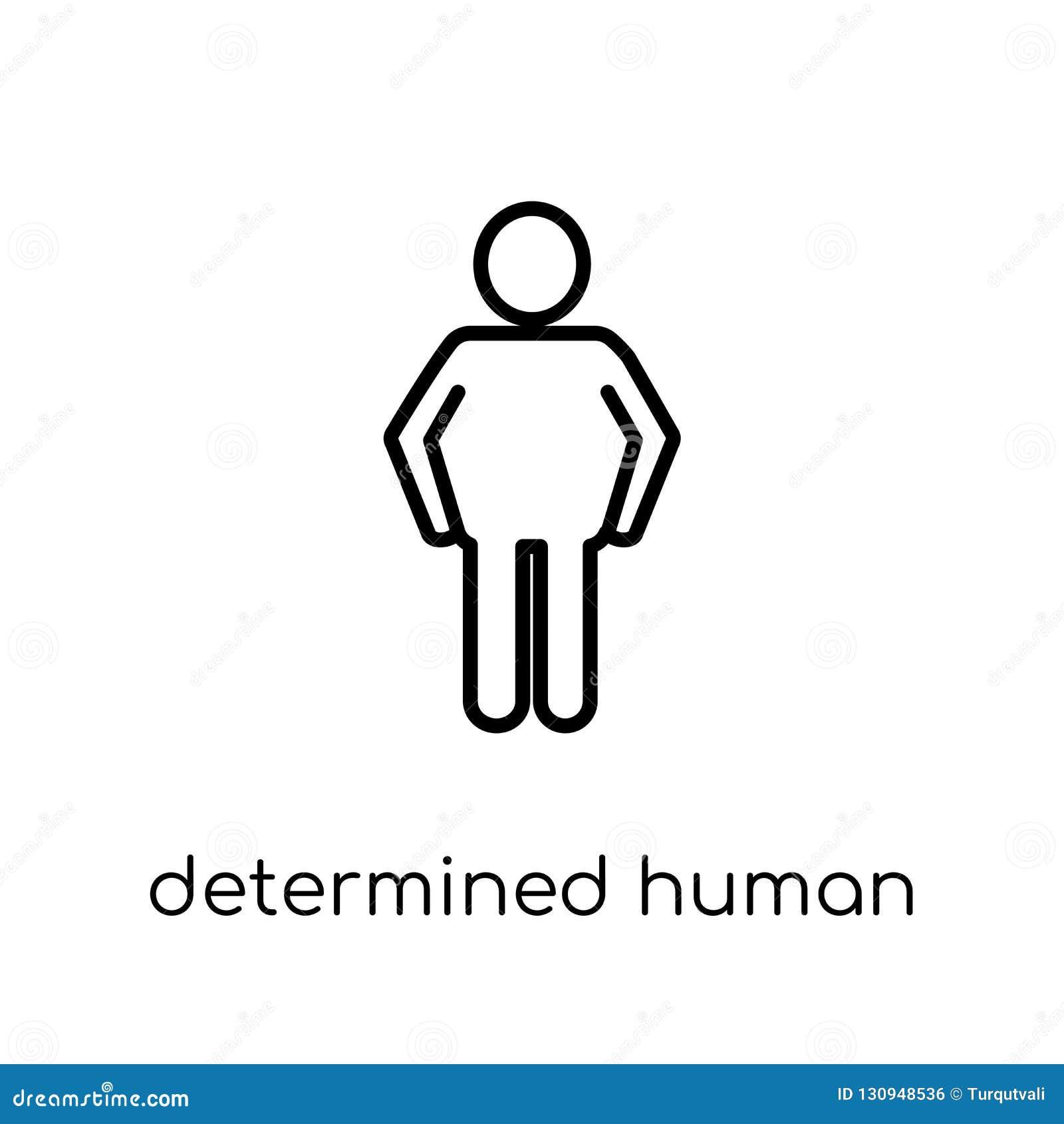Zdecydowana ludzka ikona Modny nowożytny płaski liniowy wektorowy determin