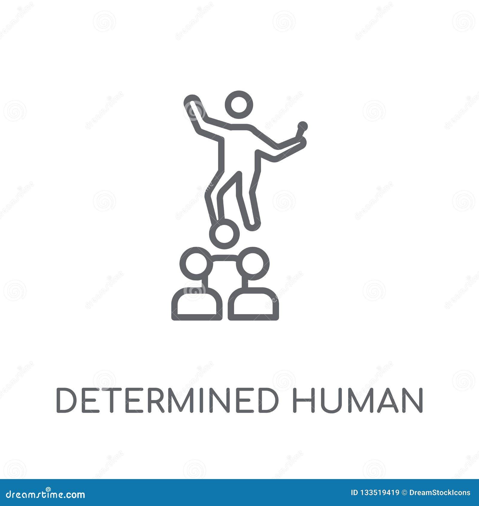 Zdecydowana ludzka liniowa ikona Nowożytnego konturu zdecydowany ludzki lo