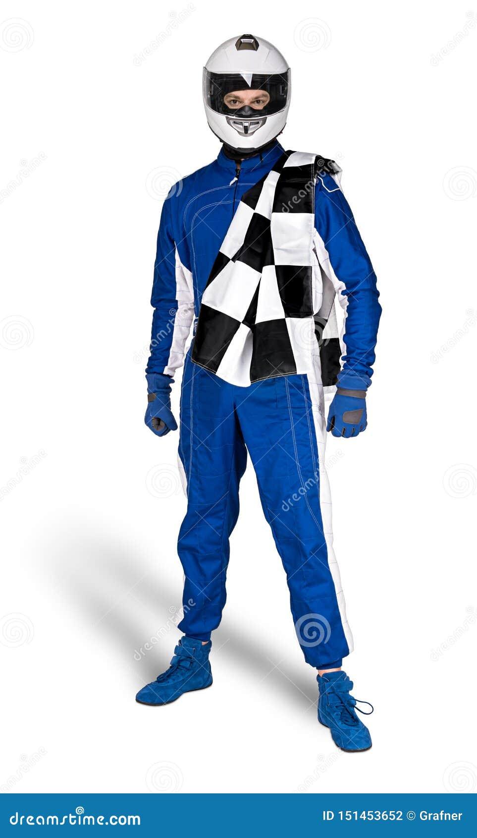 Zdecydowany biegowy kierowca w błękitnym białym motorsport kombinezonie kuje rękawiczka trzaska całkowego zbawczego hełm i cheque