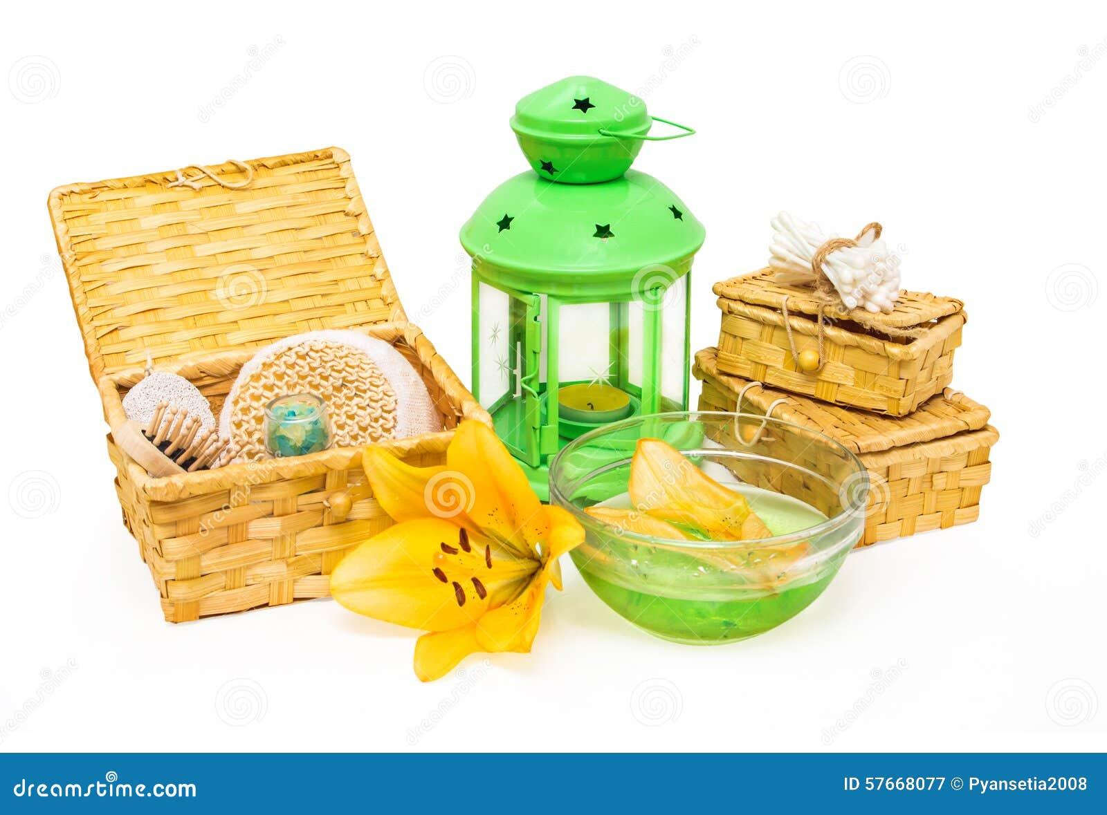 Zdroju pojęcie Żółty leluja kwiat, przedmioty dla zdrój procedur i