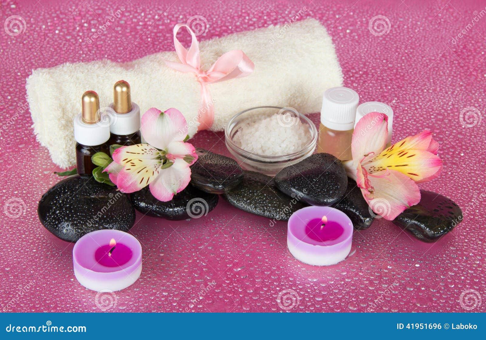 Zdroju set, świeczki i ręcznik,