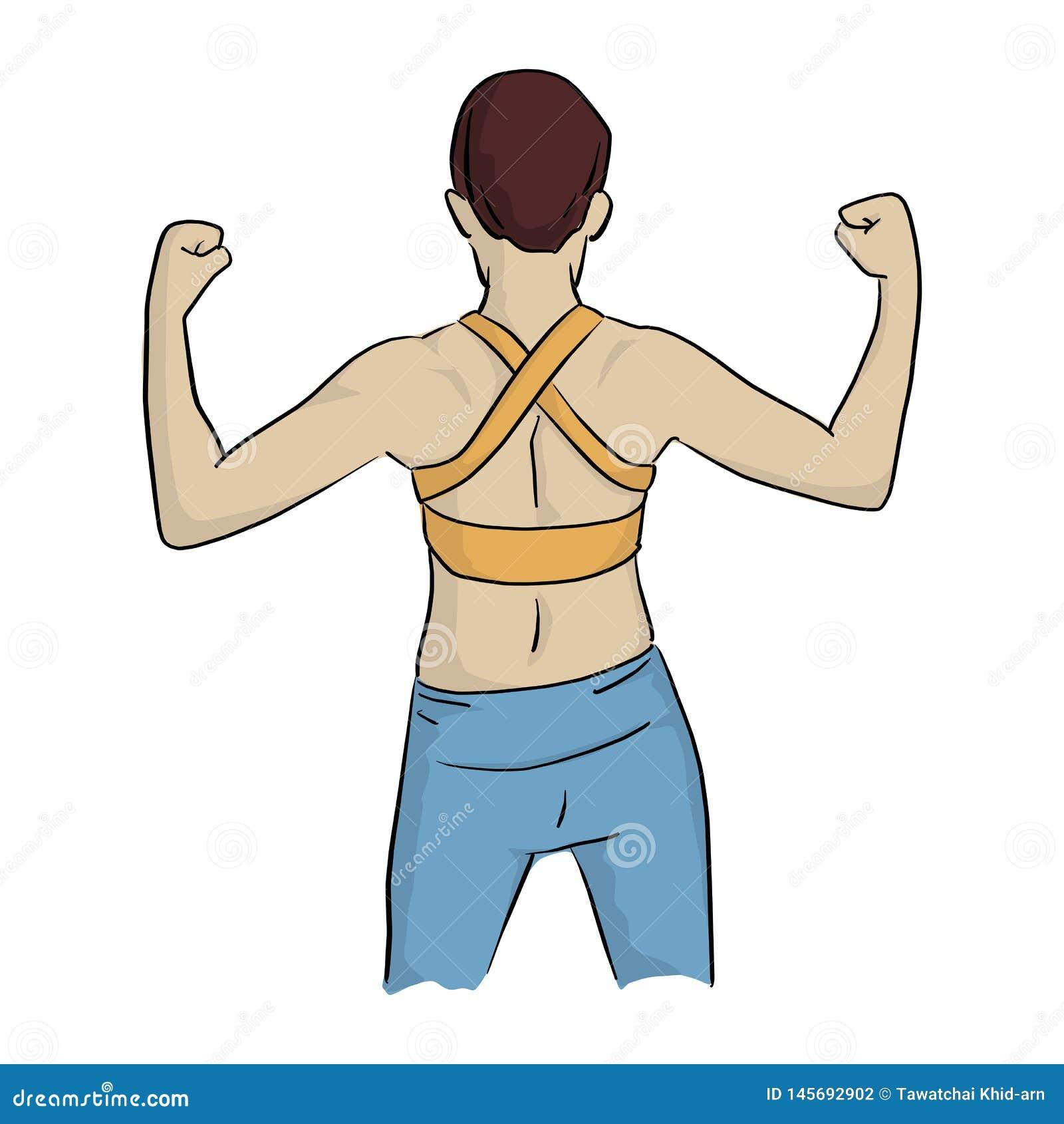 Zdrowa kobieta w żółtej kamizelce napinać jego tylnych mięśni nakreślenia doodle wektorową ilustracyjną rękę rysującą z czerni li