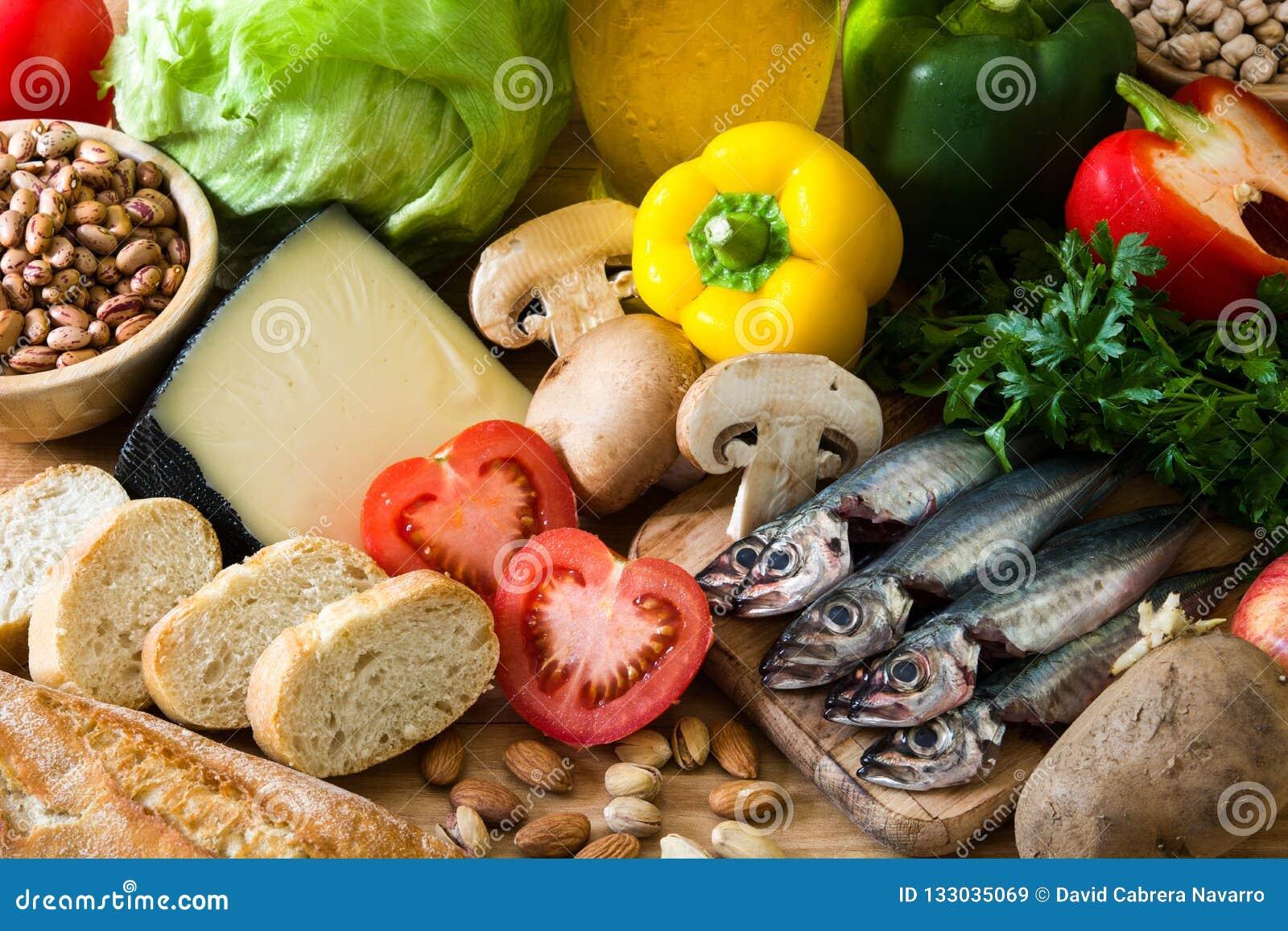Zdrowe jeść dieta śródziemnomorska Owoc, warzywa, adra, dokrętki oliwa z oliwek i ryba,