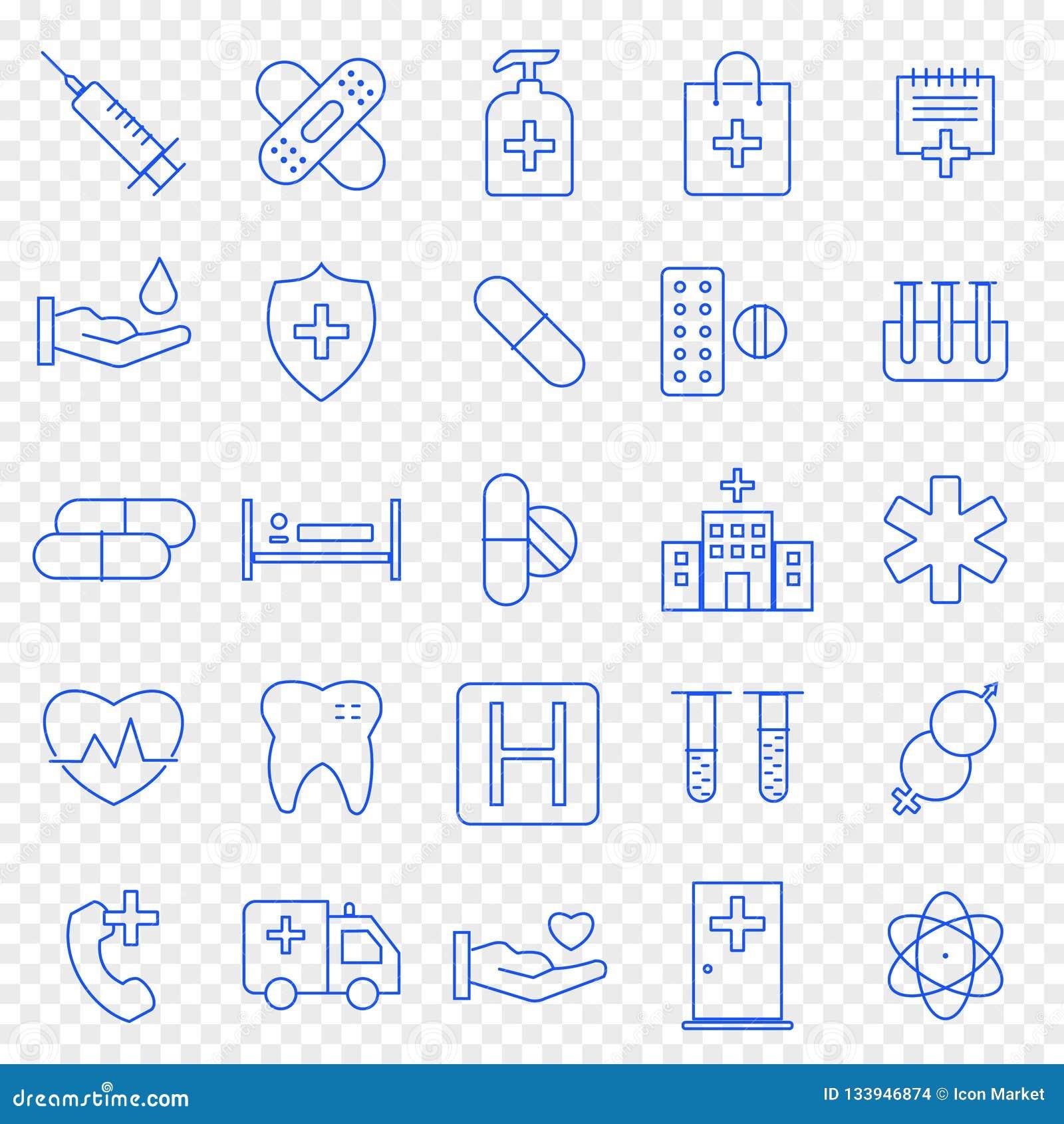 Zdrowie i medycyny ikony set 25 ikon Wektorowa paczka