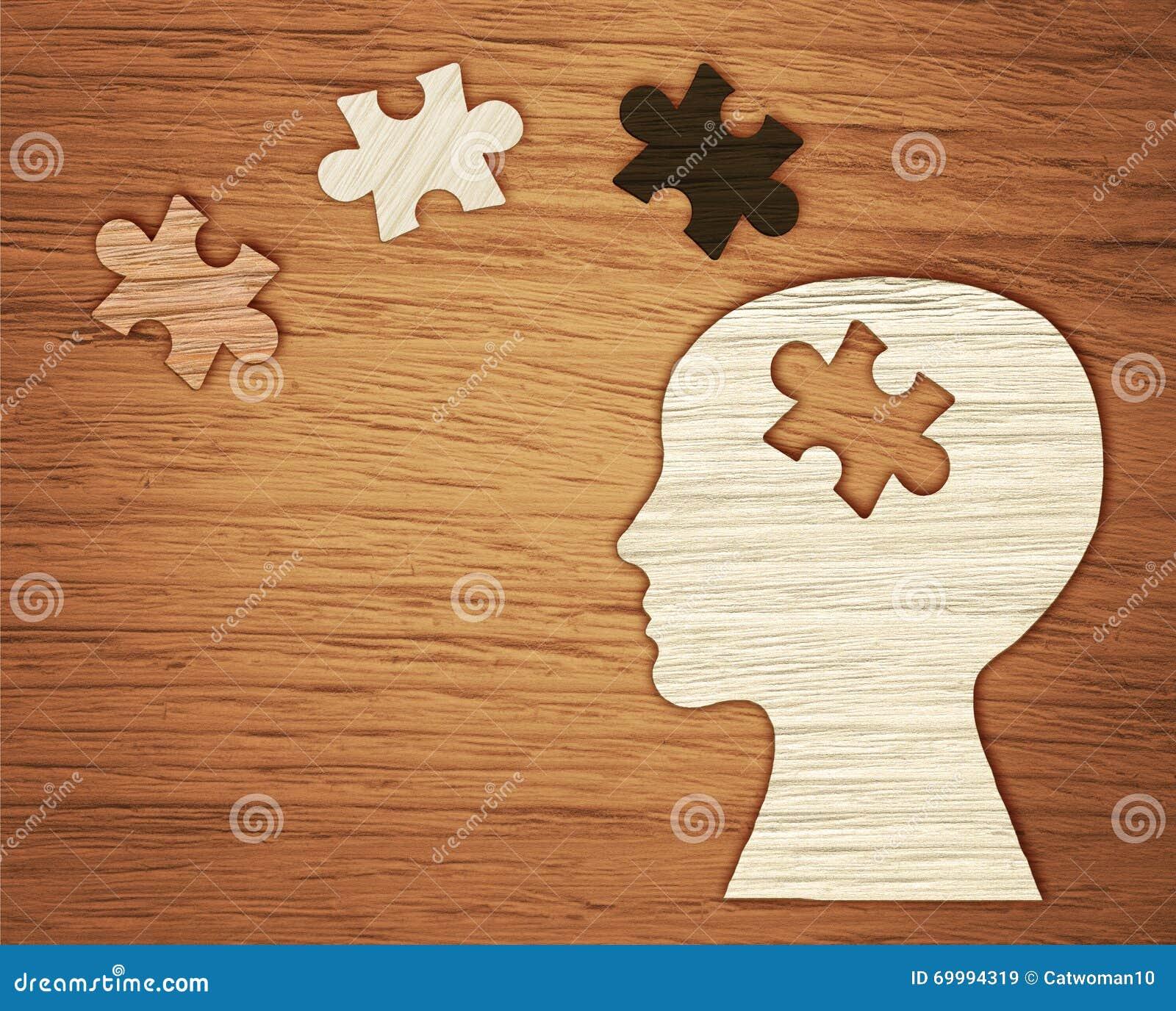 Zdrowie Psychiczne symbol Ludzkiej głowy sylwetka z łamigłówką
