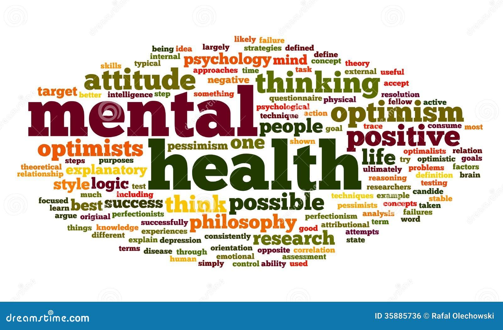 Zdrowie psychiczne w słowo etykietki chmurze