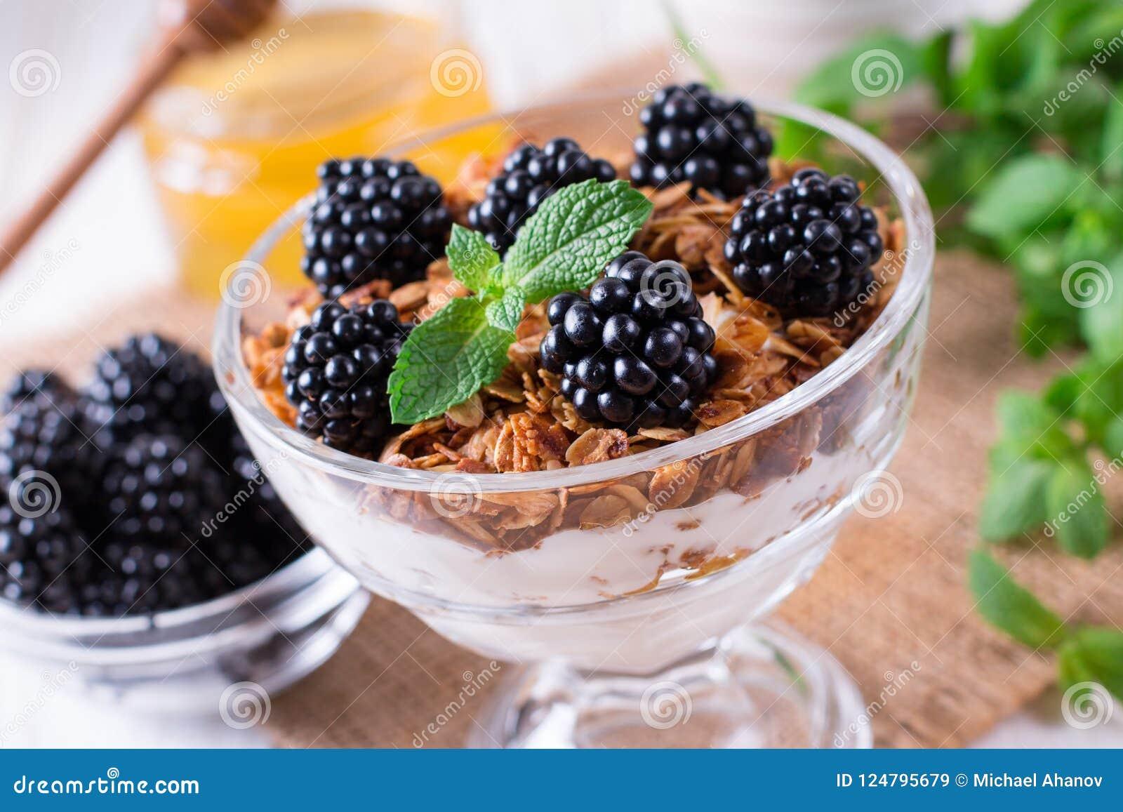 Zdrowy śniadanie z, jogurt z muesli, czernicy, i
