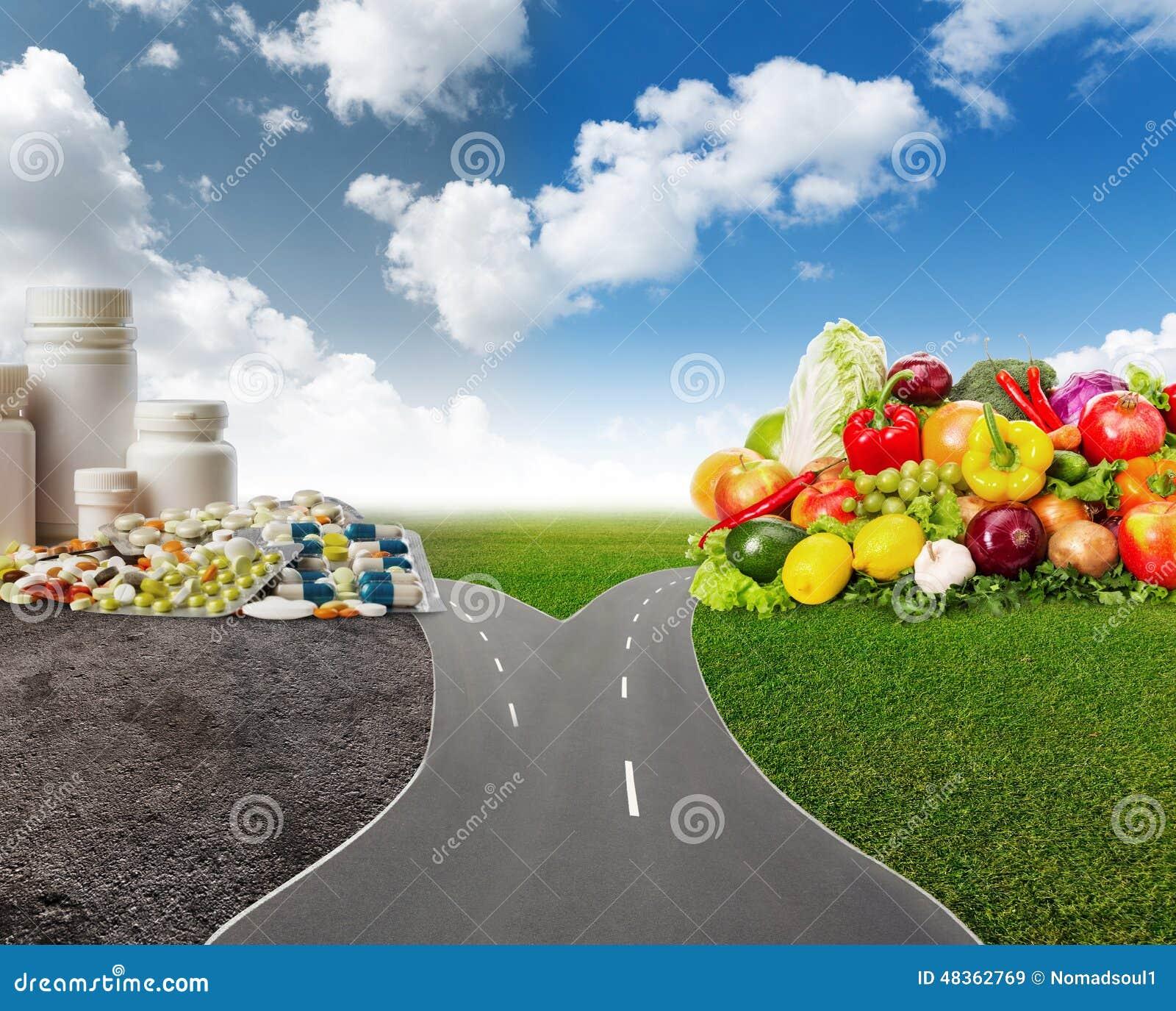 Zdrowy jedzenie lub medyczne pigułki