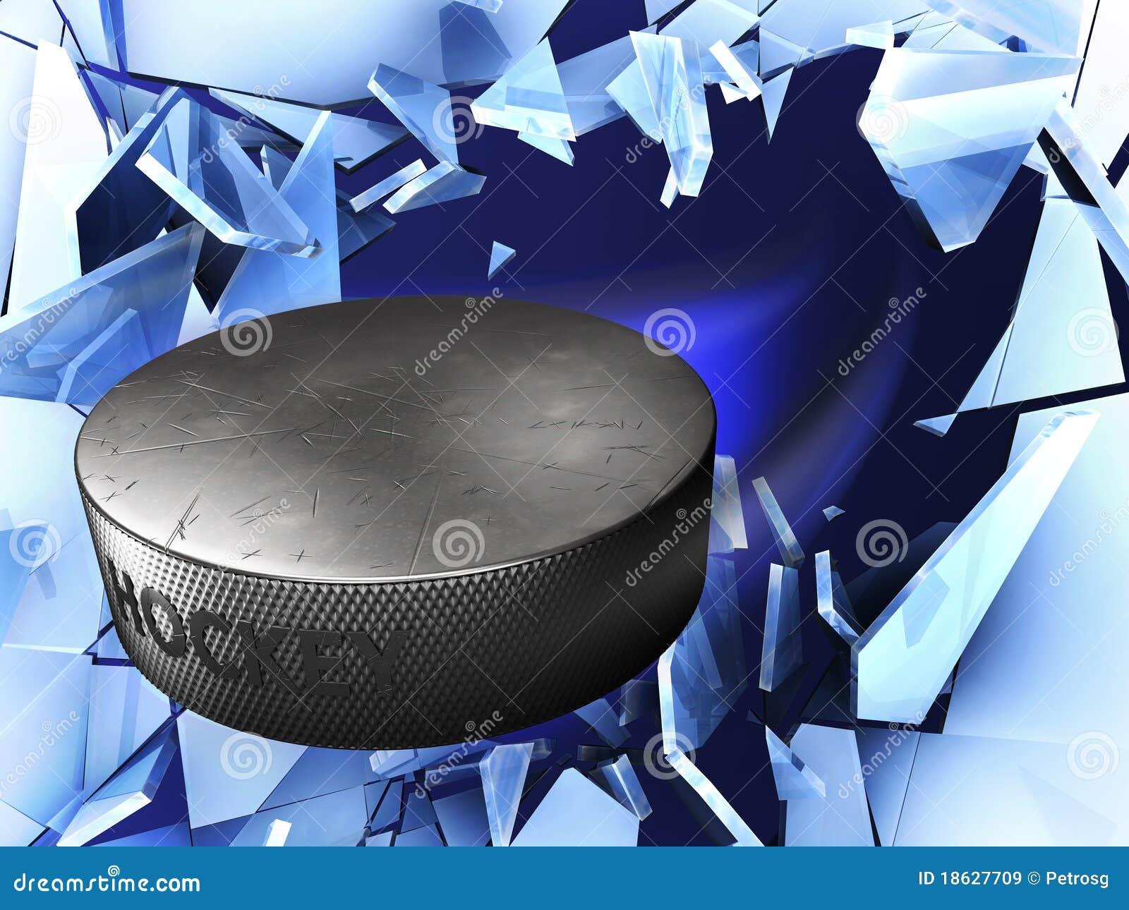 Zdruzgotany latający hokeja lodu krążek hokojowy
