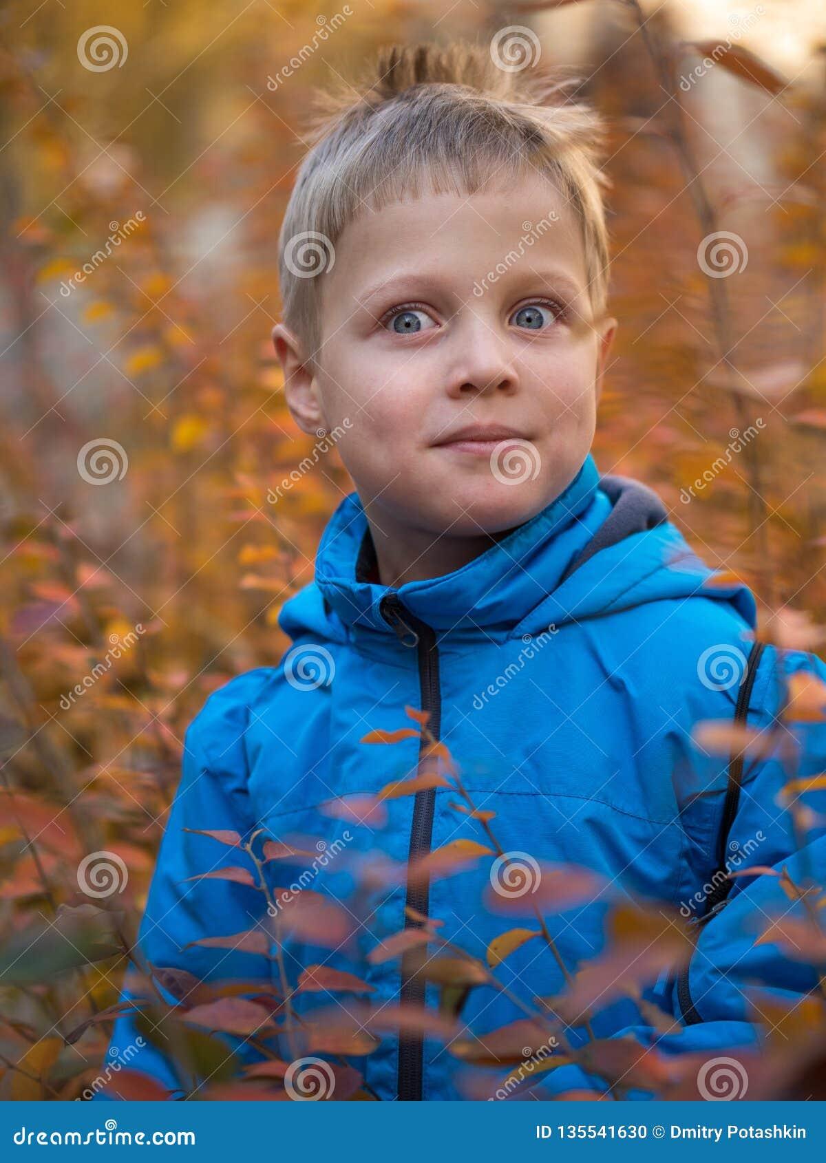 Zdziwiona chłopiec w jesień parku
