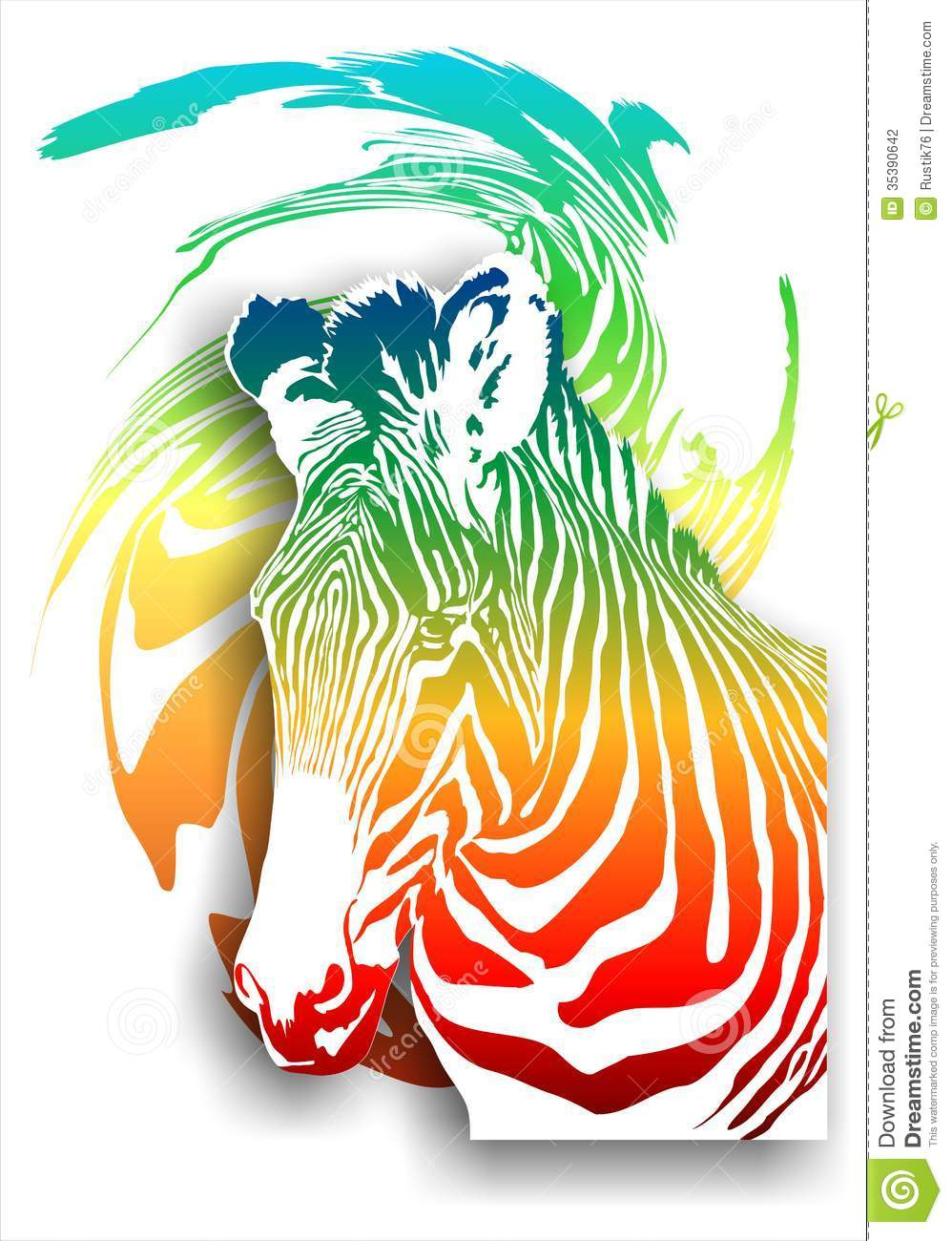 Colorful Zebra Print Nail Art Tutorial: Zebra On An Abstract Background (color). (Vector) Stock