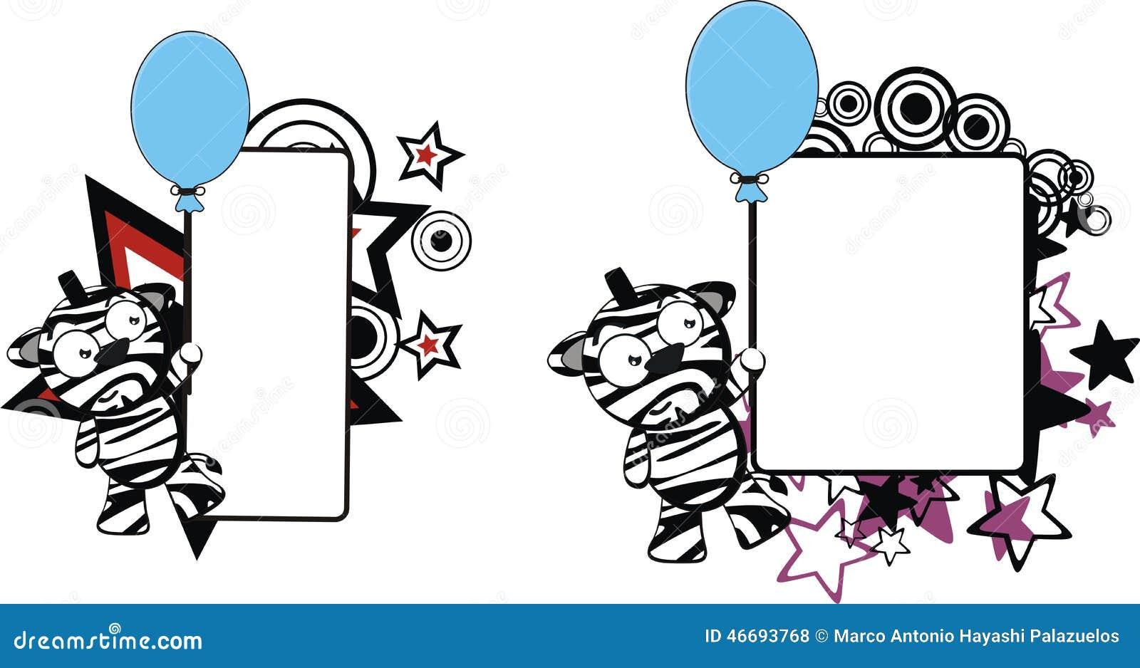 Sweet Little Baby Zebra Cartoon Copyspace Cartoon Vector